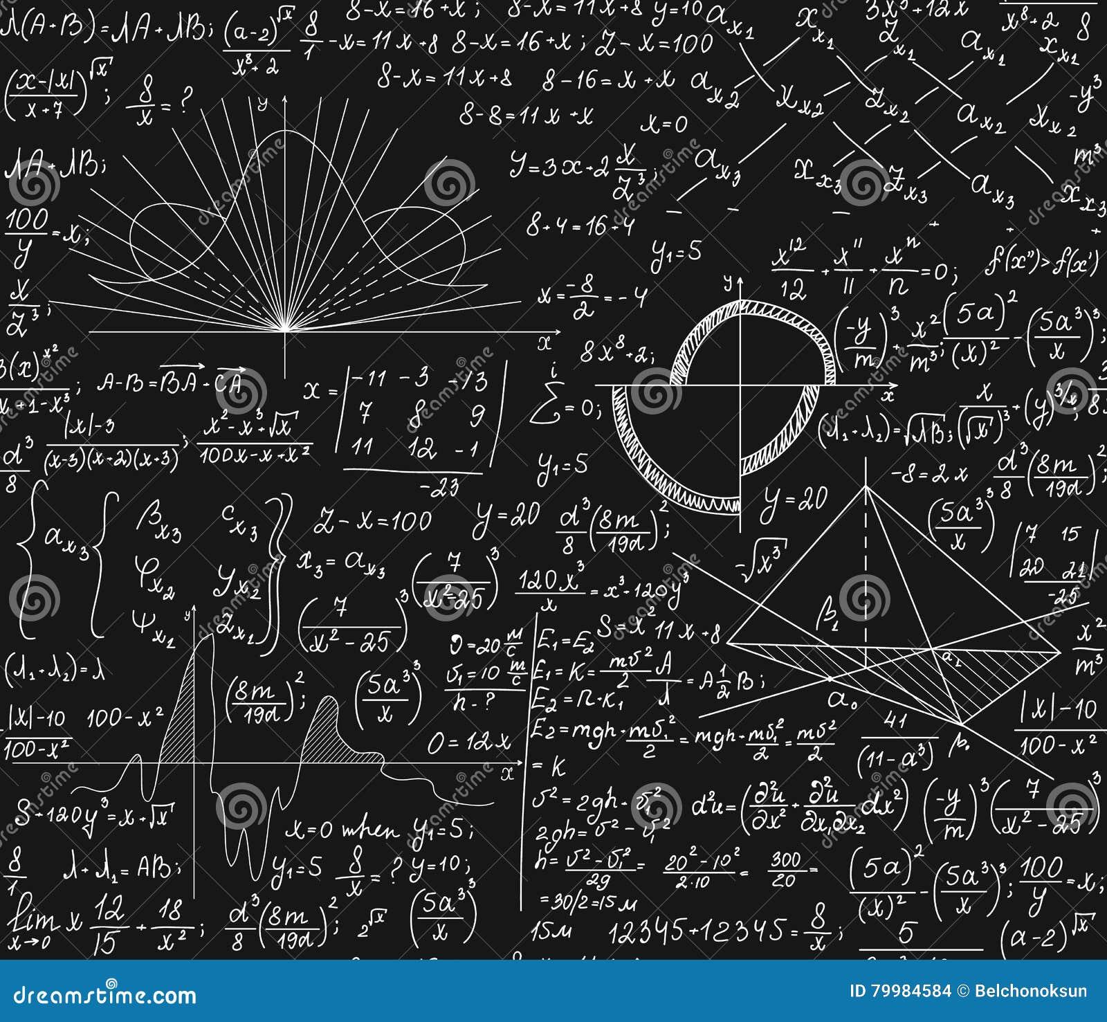 Картина с математическими формулами, техническое исследование вектора математики безшовная, графики, уровнения, вычисления