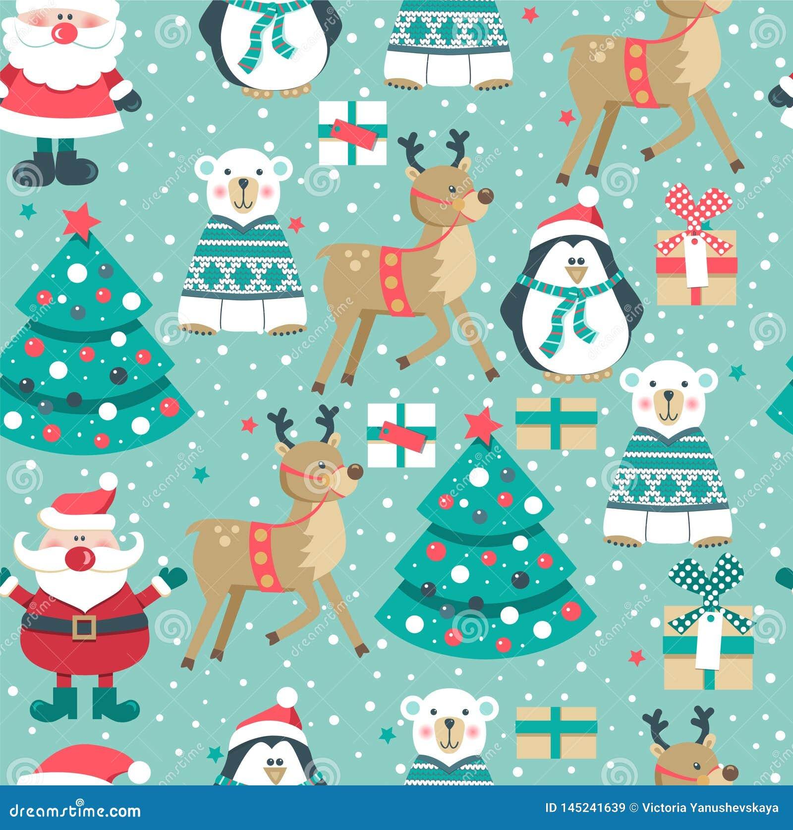 Картина с Санта, дерево рождества, коробки, полярный медведь снеговик, олени и пингвин ,