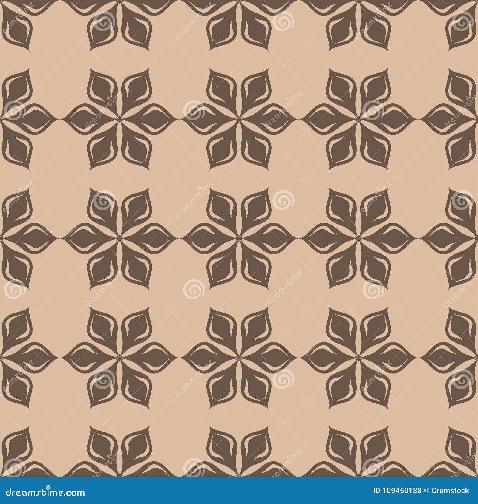 Картина темного коричневого цвета флористическая безшовная на бежевой предпосылке