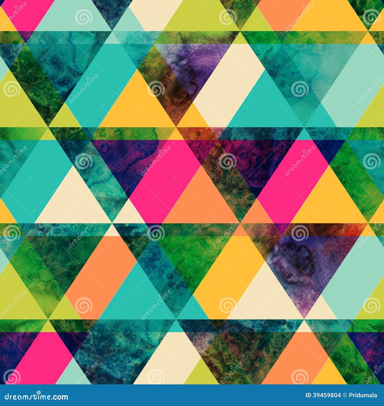Картина треугольников акварели безшовная. Современный битник безшовный p