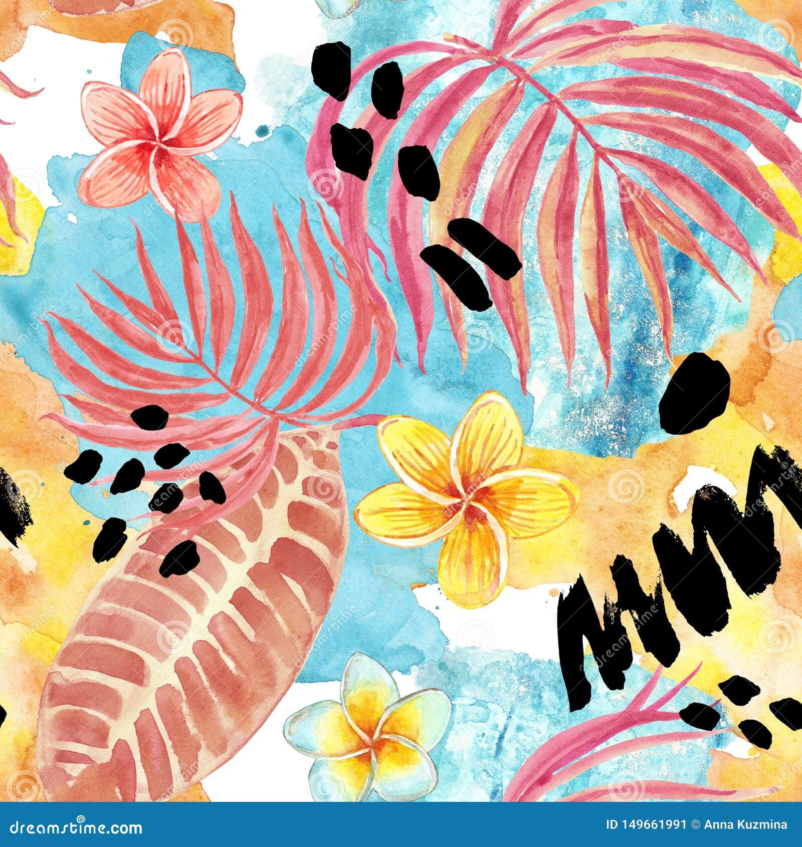 Картина тропических листьев акварели безшовная Рука покрасила лист ладони, экзотические цветки plumeria и листву на голубой предп