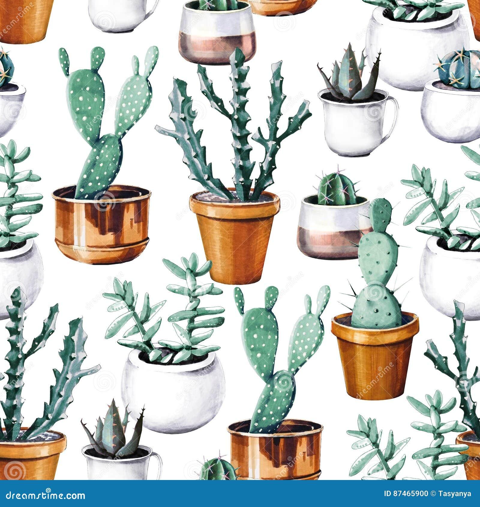 Картина тропического сада пустыни кактуса акварели безшовная Картина кактуса Watercolour