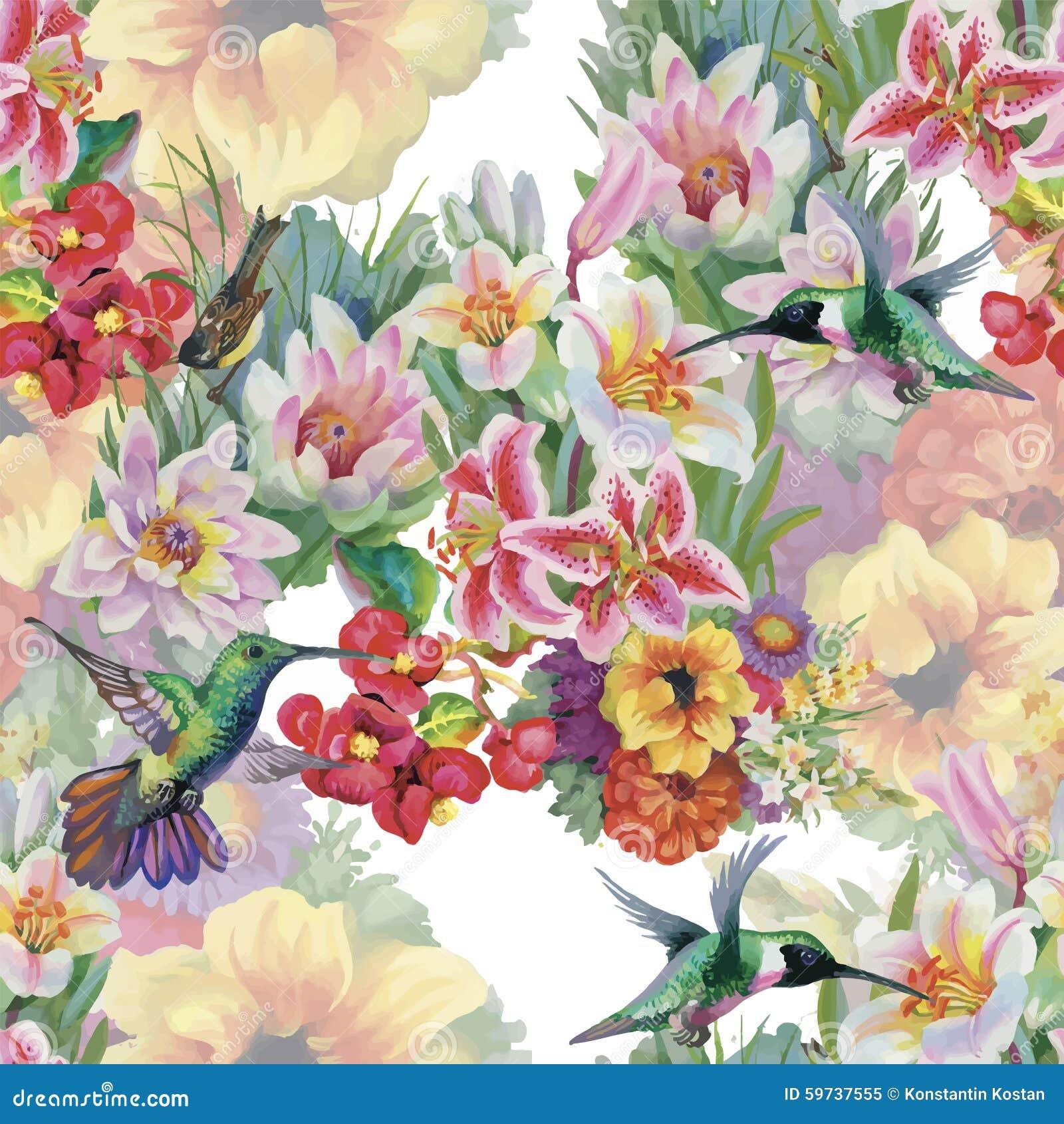 Картина тропической флористической акварели безшовная с colibris и цветками самана коррекций высокая картины photoshop качества р