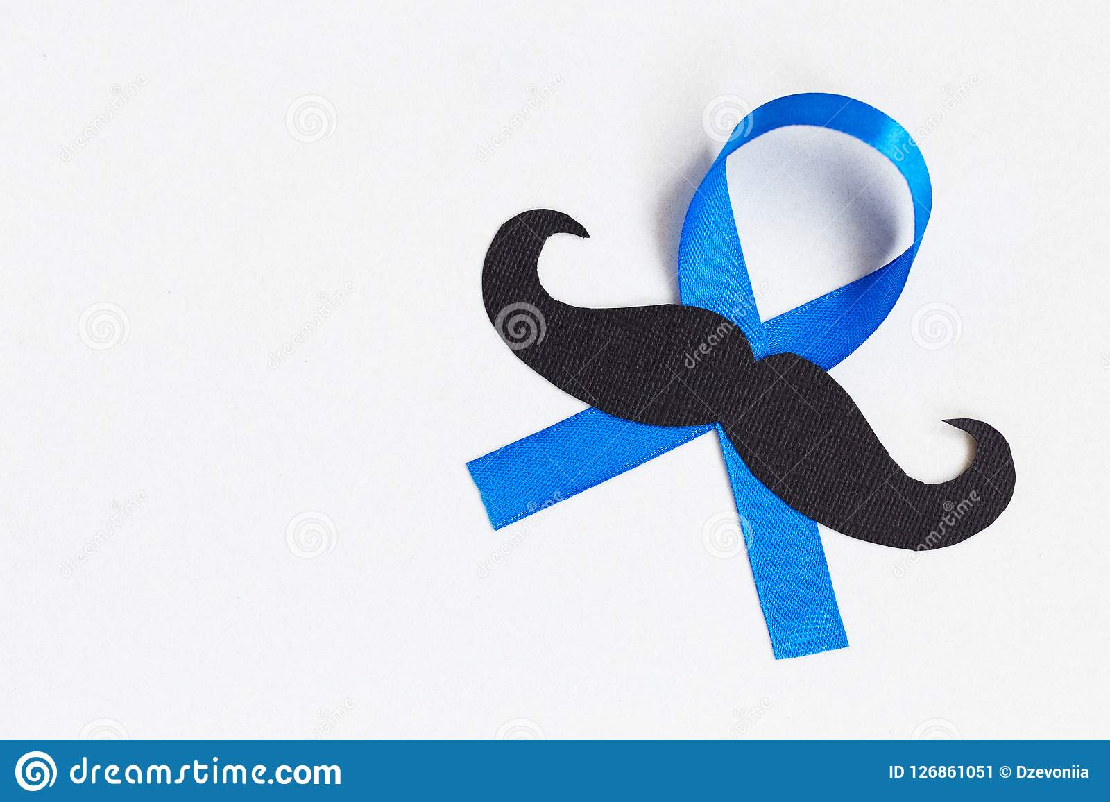 Картина усика с символом голубой ленты концепция movember