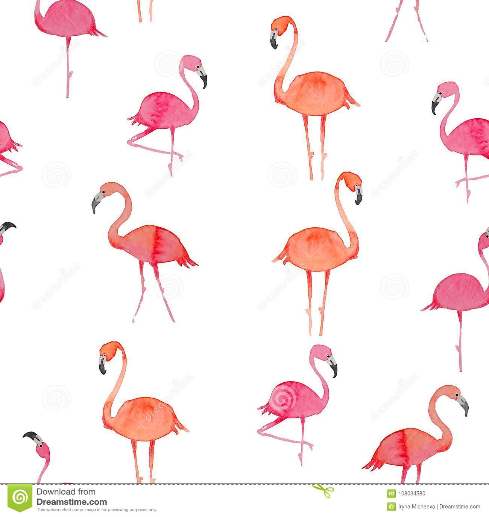 Картина фламинго безшовная на белой предпосылке птица экзотическая дизайн иллюстрации для ткани и оформления