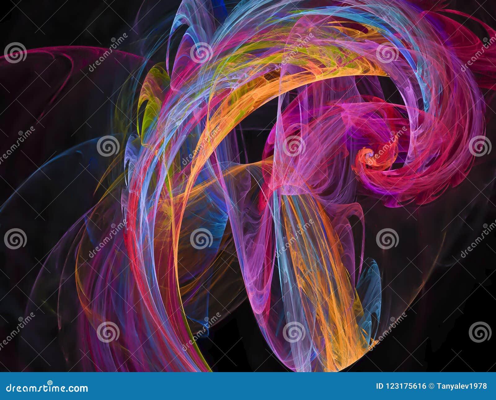 Картина фрактали абстрактной живой текстуры дизайна влияния цифрового верхнего слоя глубокой футуристическая