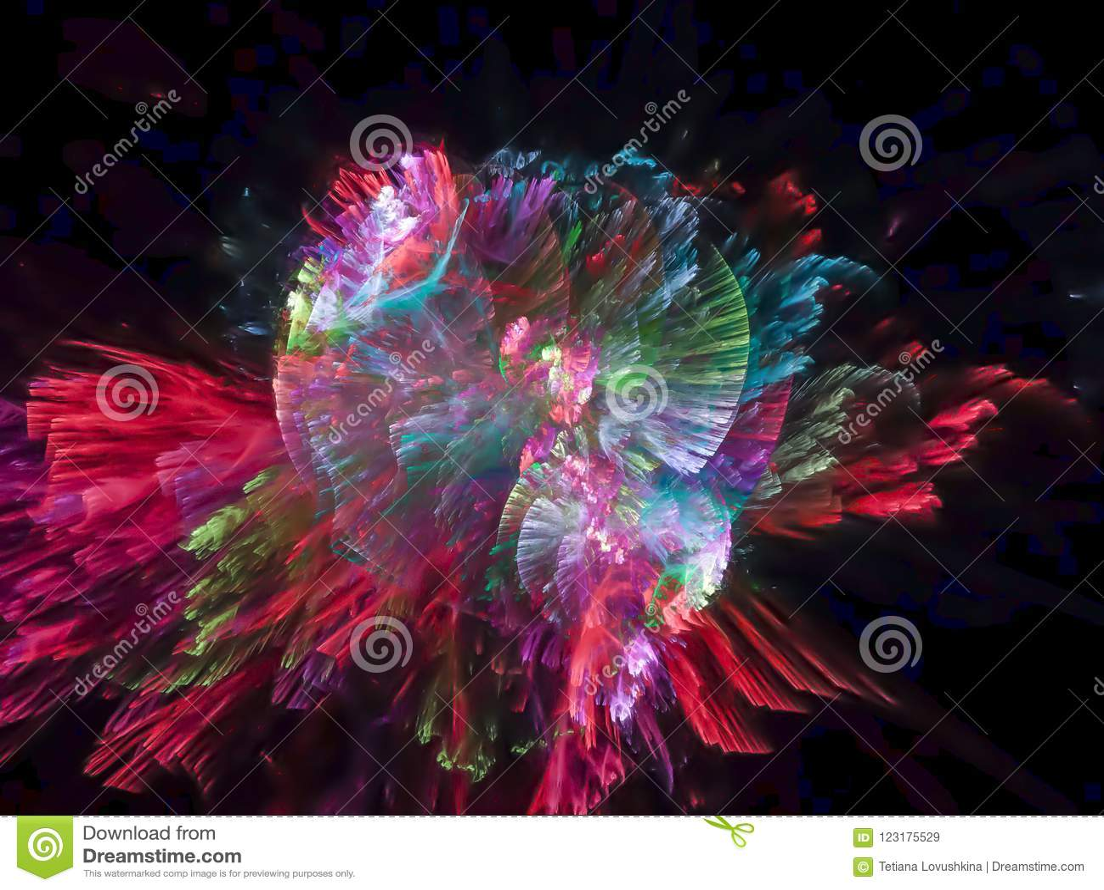 Картина фрактали абстрактной живой цифровой текстуры кибернетического дизайна частицы фантазии взрыва футуристическая