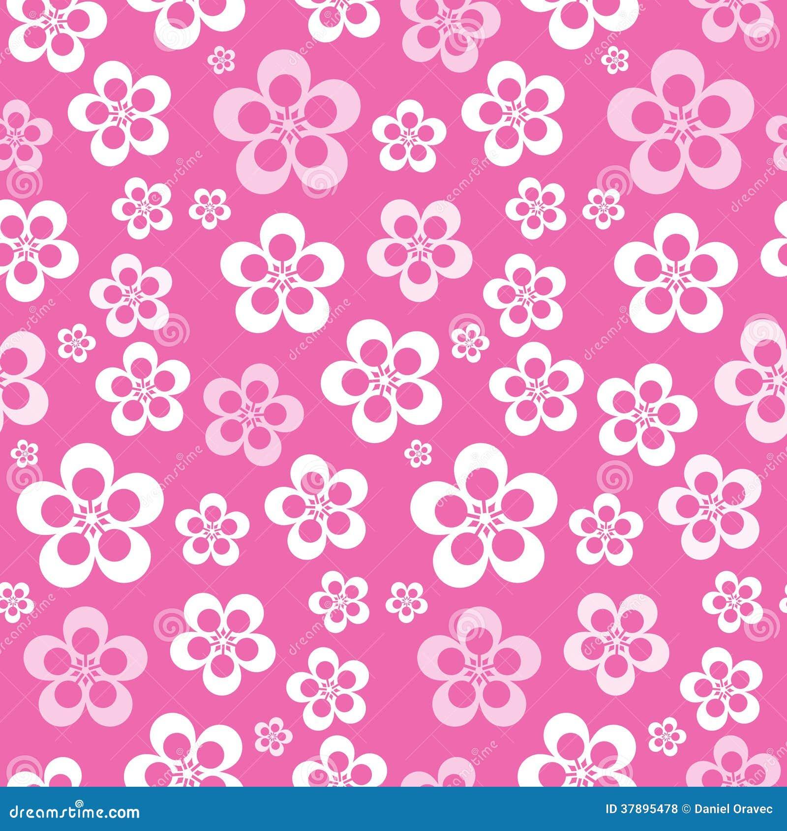 Картина цветка вектора абстрактная ретро безшовная розовая
