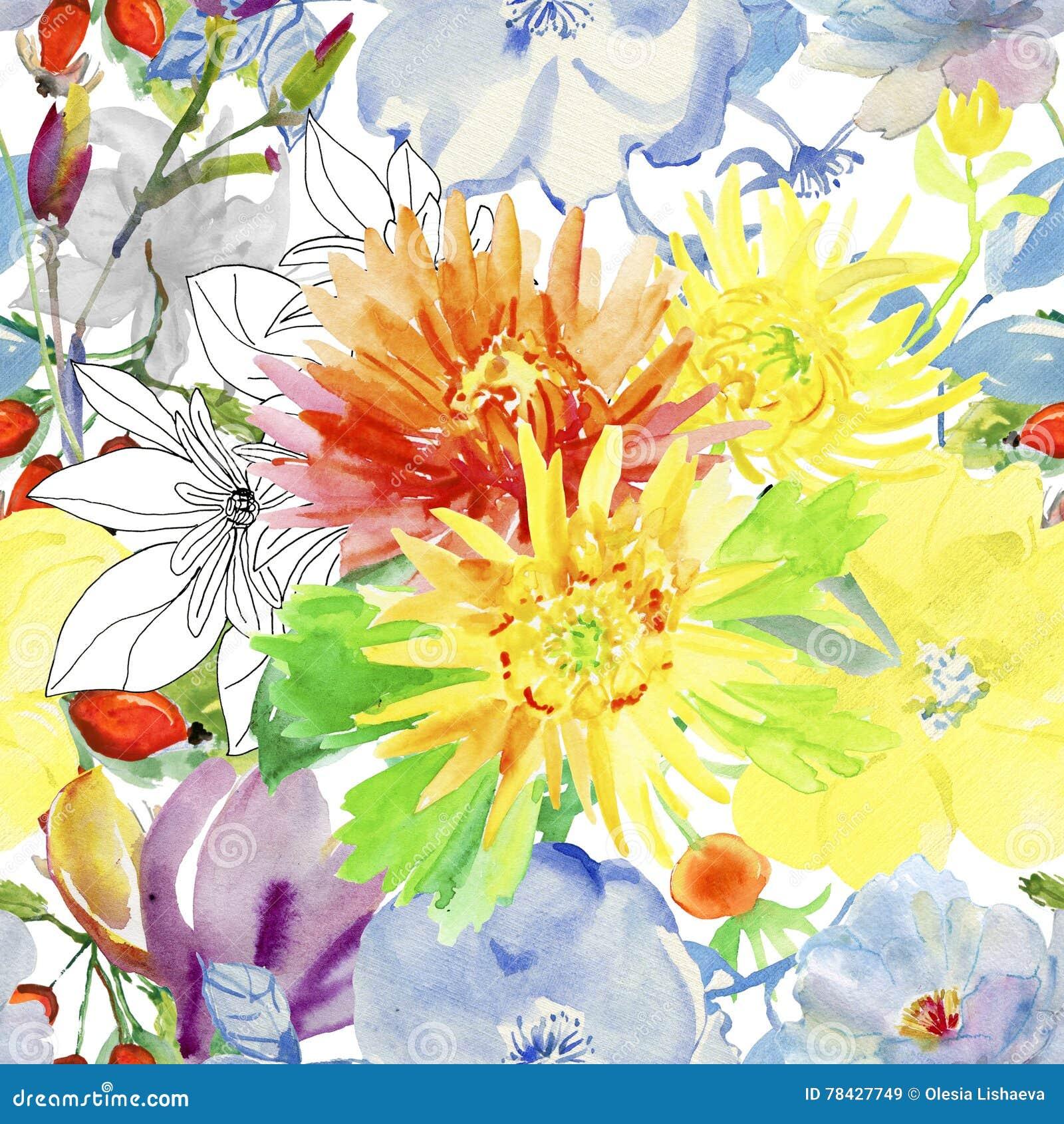 картина цветков осени безшовная