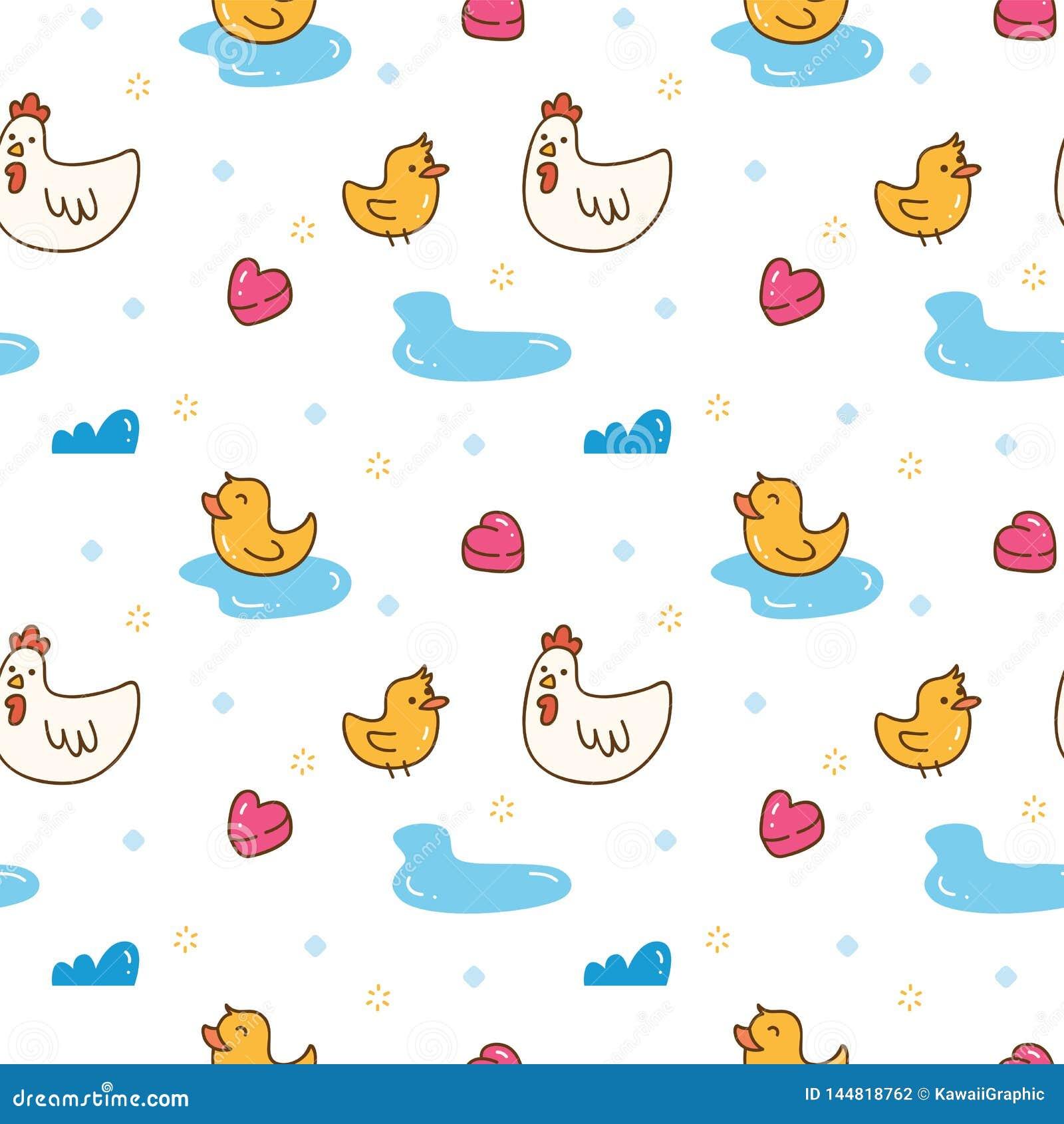 Картина цыпленка и утки Kawaii безшовная