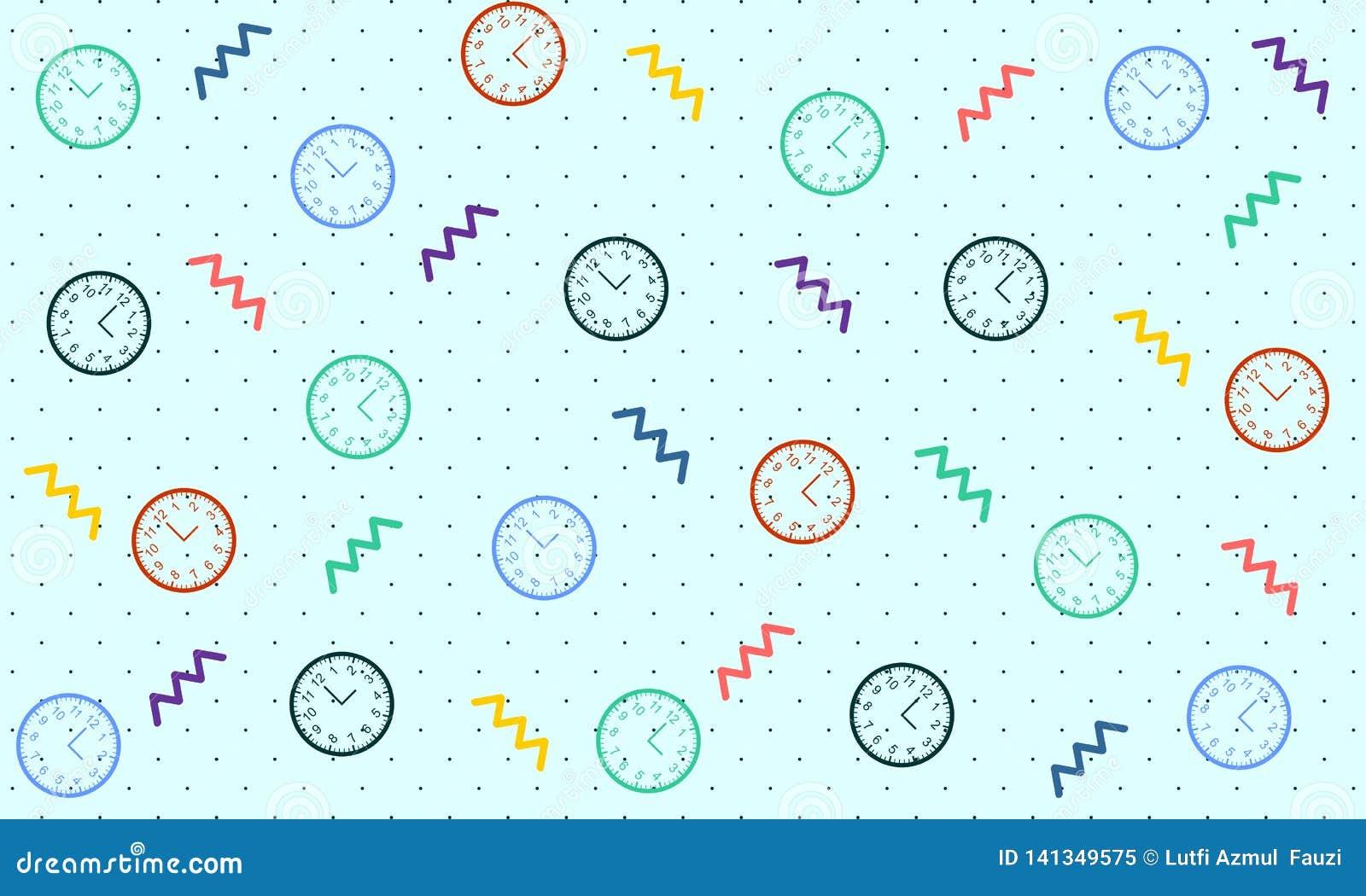 Картина часов со стилем Мемфиса - вектором