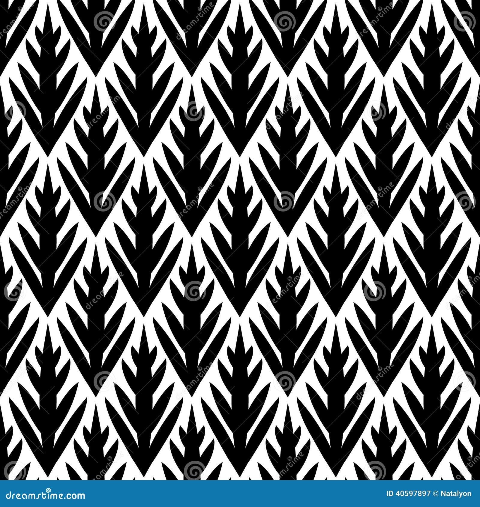 Картина черно-белого простого ikat деревьев геометрического безшовная, вектор