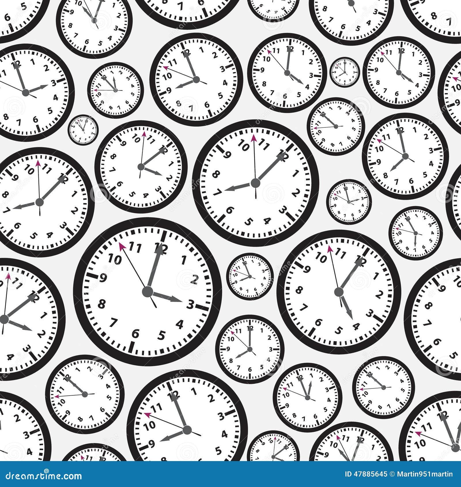Картина черно-белых часов часовых поясов безшовная