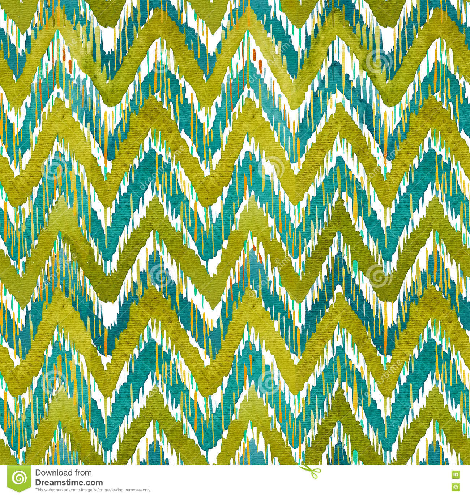 Картина шеврона ikat акварели безшовная Зеленый и голубой watercolour Богемское этническое собрание