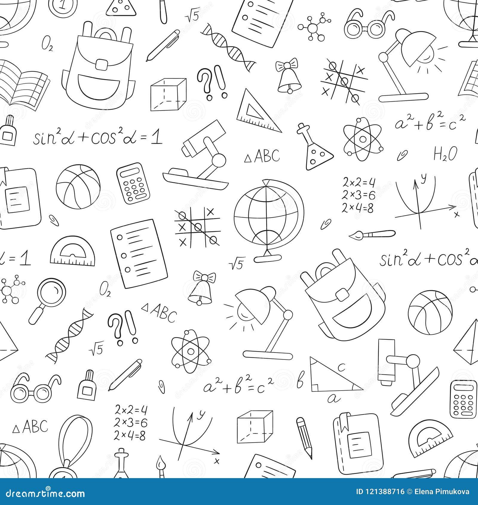 Картина школы безшовная в стиле doodle и шаржа линейно черная белизна вектор