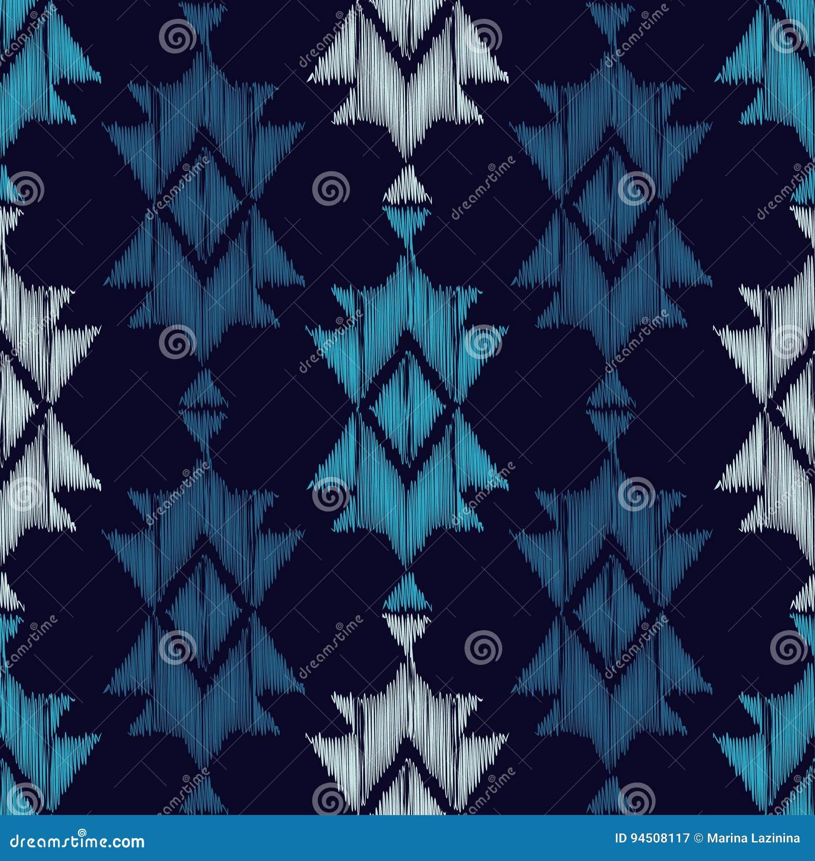 Картина этнического boho голубая безшовная цветастая ткань вышивки Ретро мотив