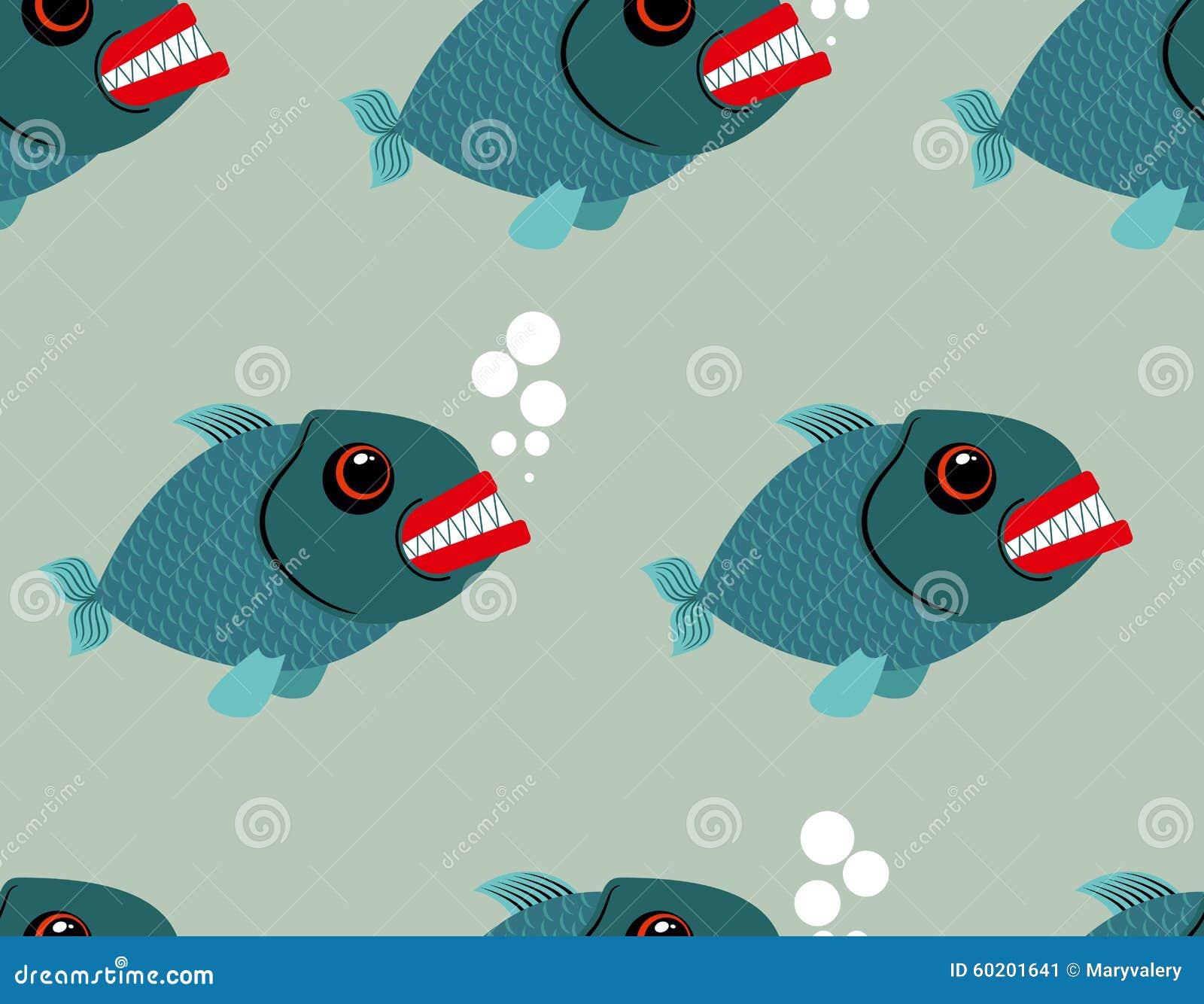 Картина Piranha безшовная Зубастая предпосылка рыб Terribl