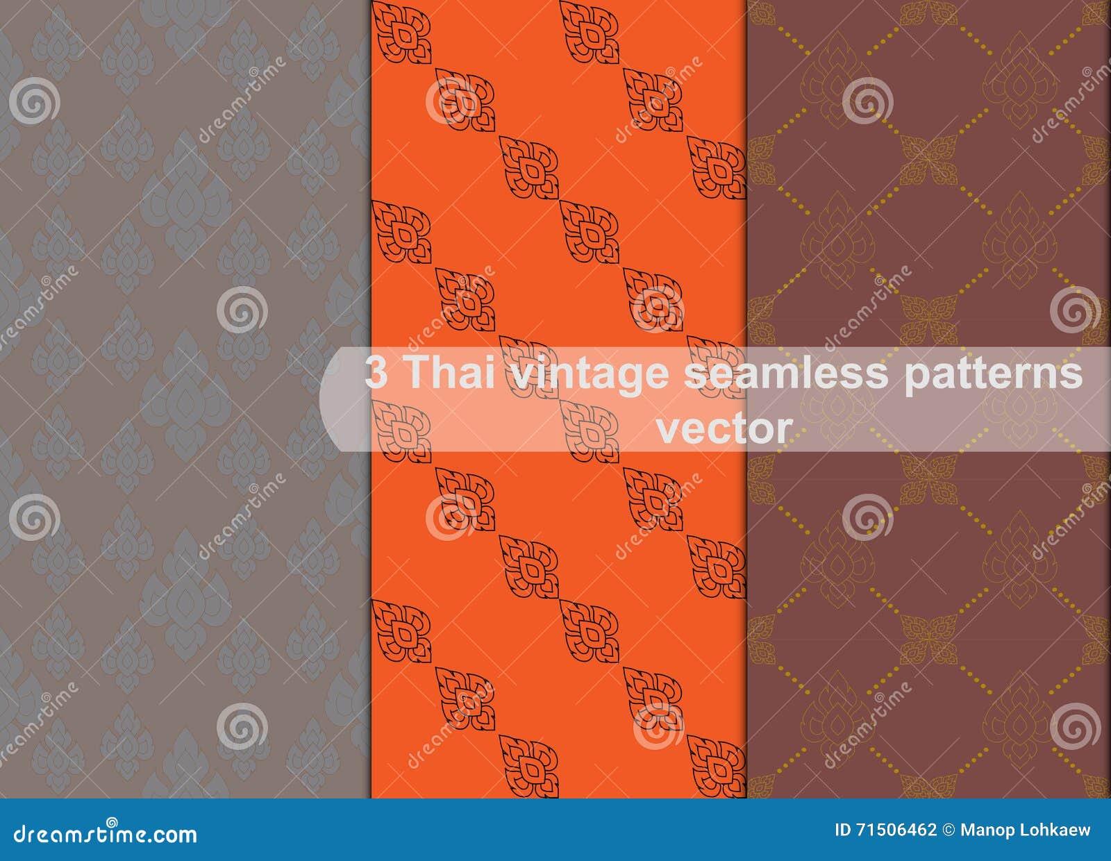 Картины винтажного тайского стиля безшовные vector абстрактная предпосылка