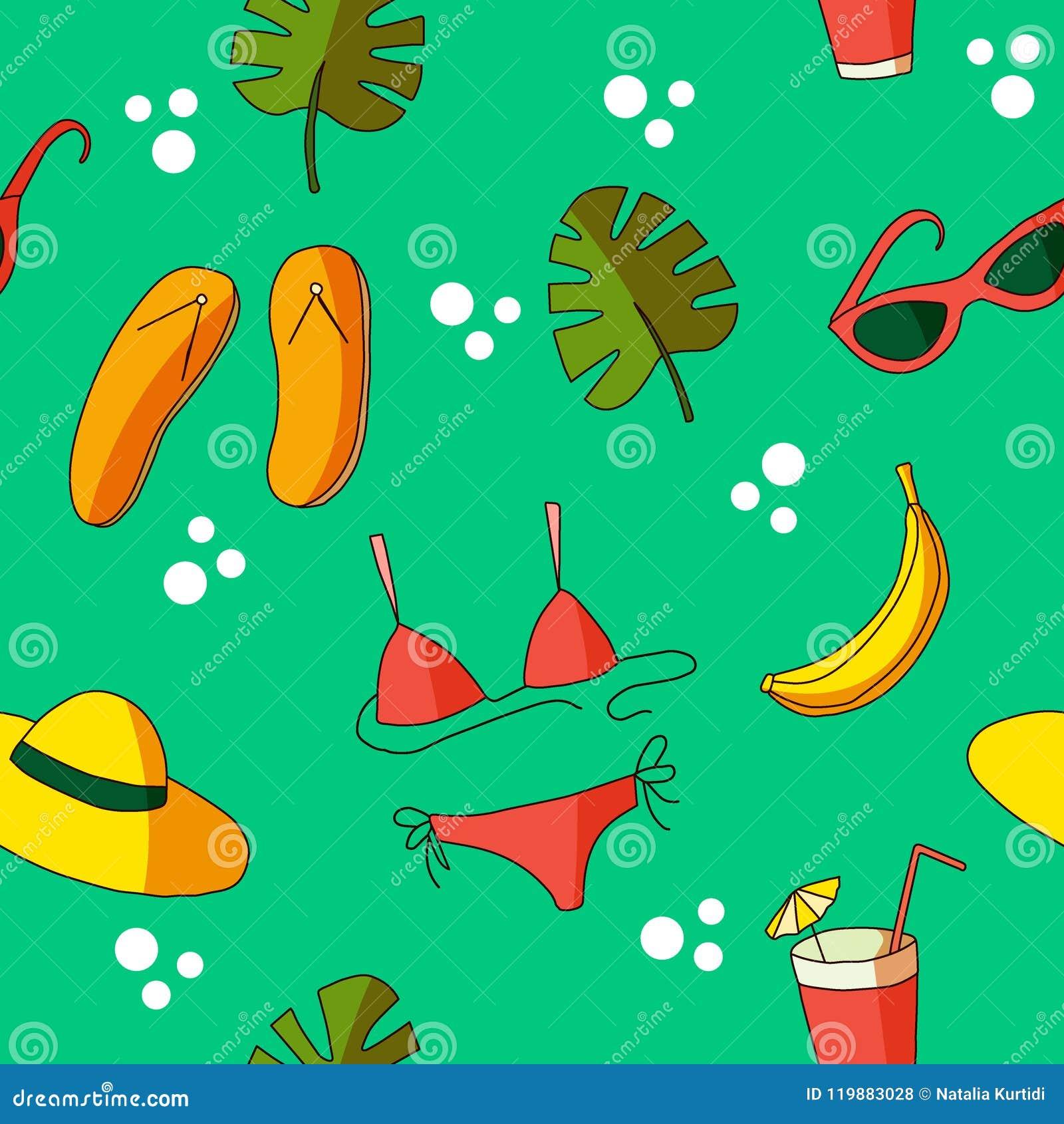 Картины лета, значок doodle лета с красным костюмом заплыва, оранжевая шляпа, листья monstera и бананы стиль мультфильма, плоско