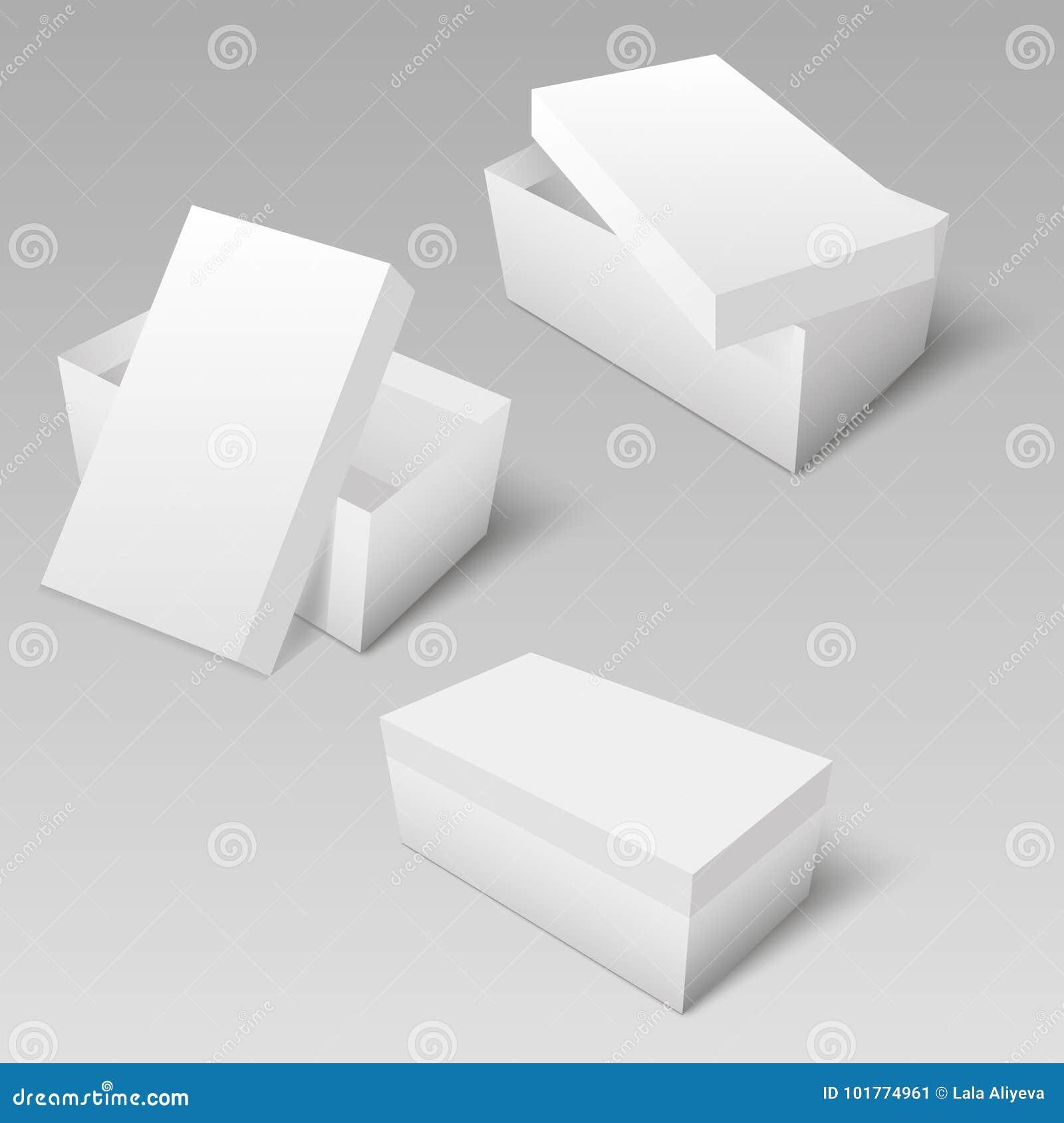 Картон белого квадрата или пакет бумаги с модель-макетом коробки крышки вектор