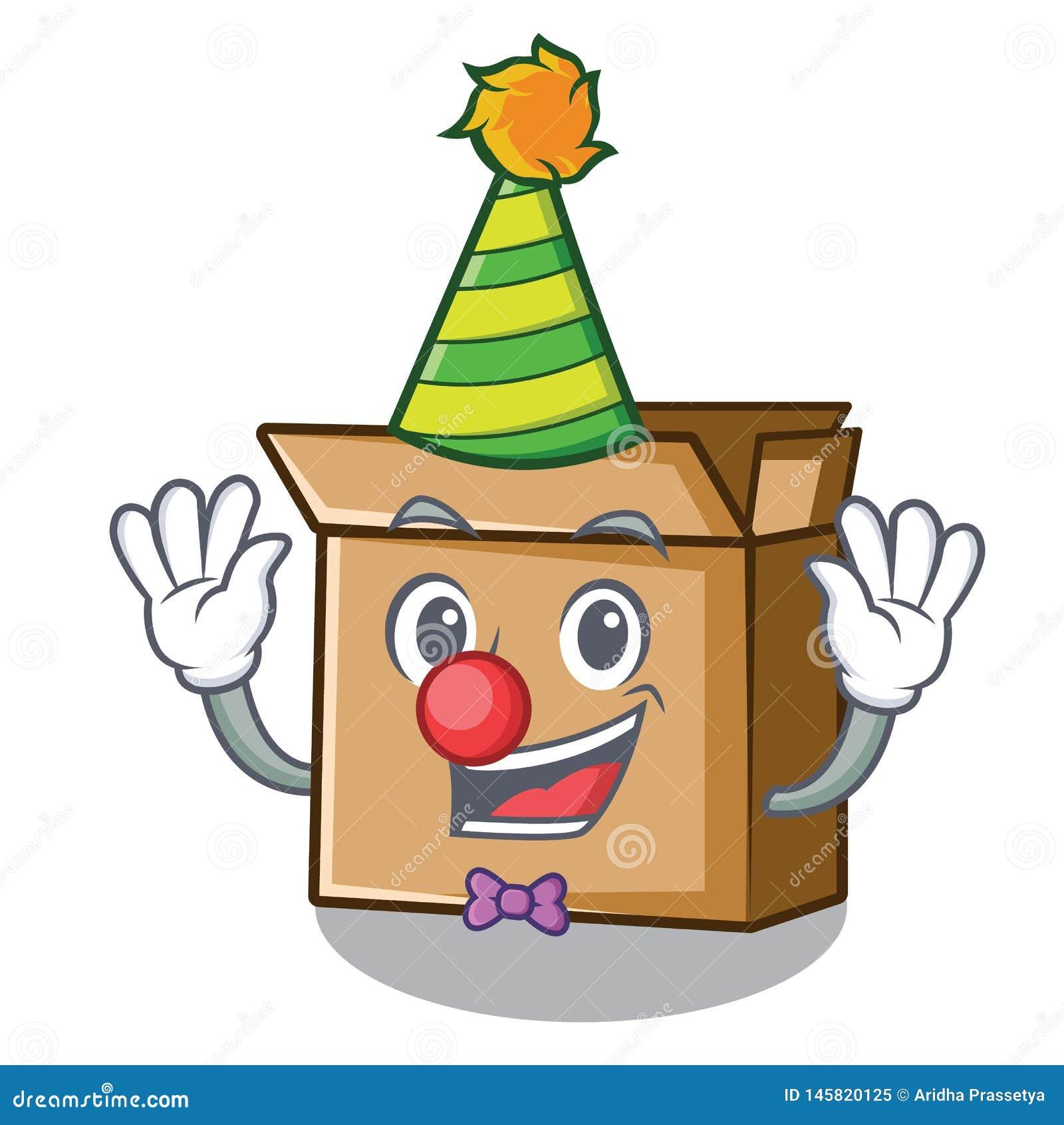Картон мультфильма клоуна помещенный рядом со стулом