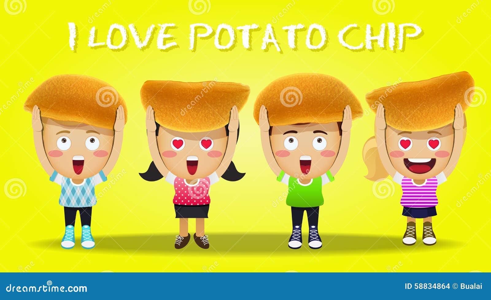 Картофельные стружки нося счастливых людей