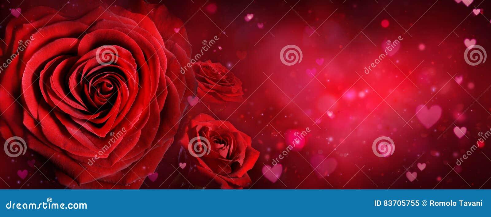 Карточка валентинки - розы и сердца