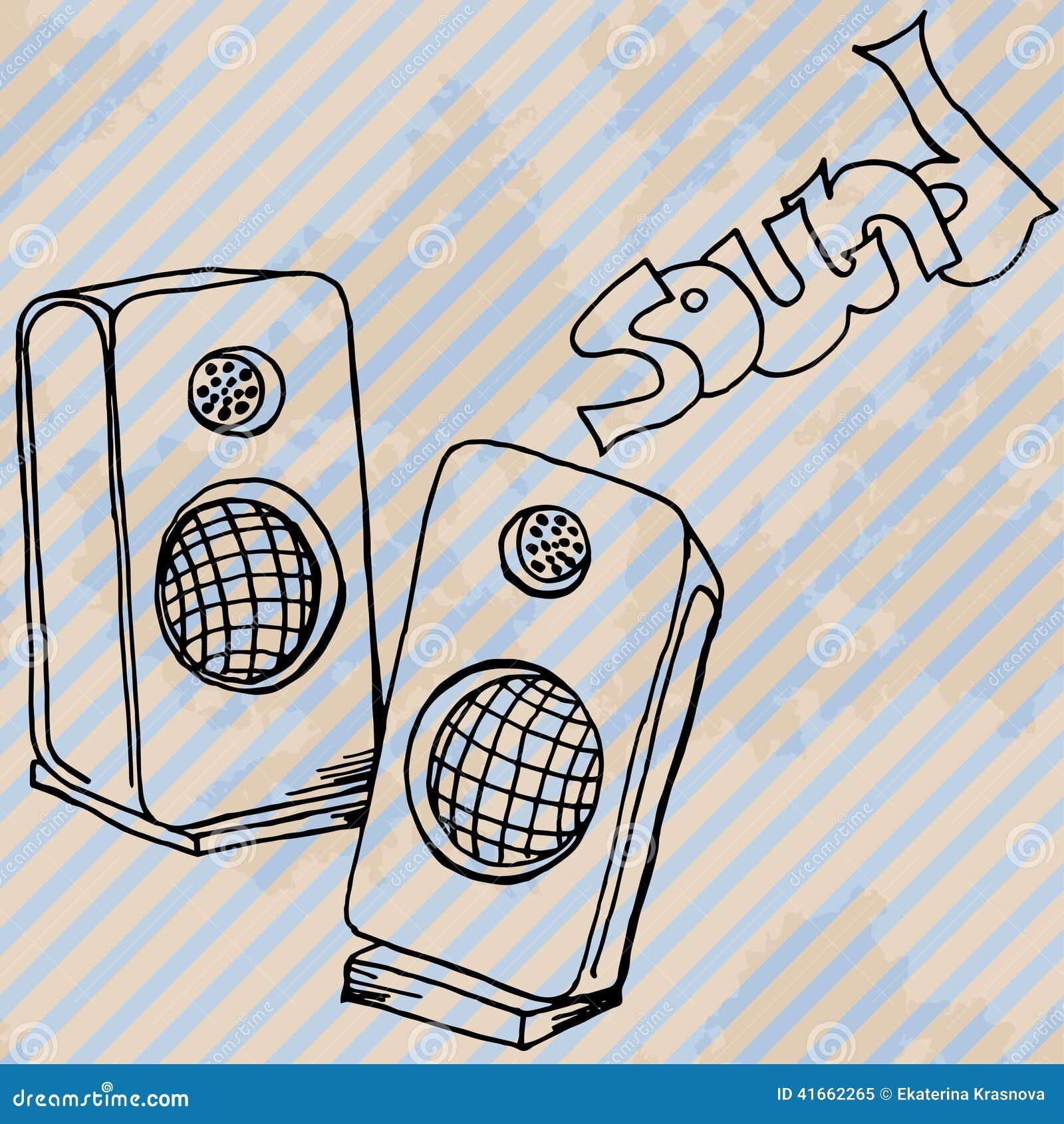 Карточка дизайна дикторов музыки ретро нарисованная рукой