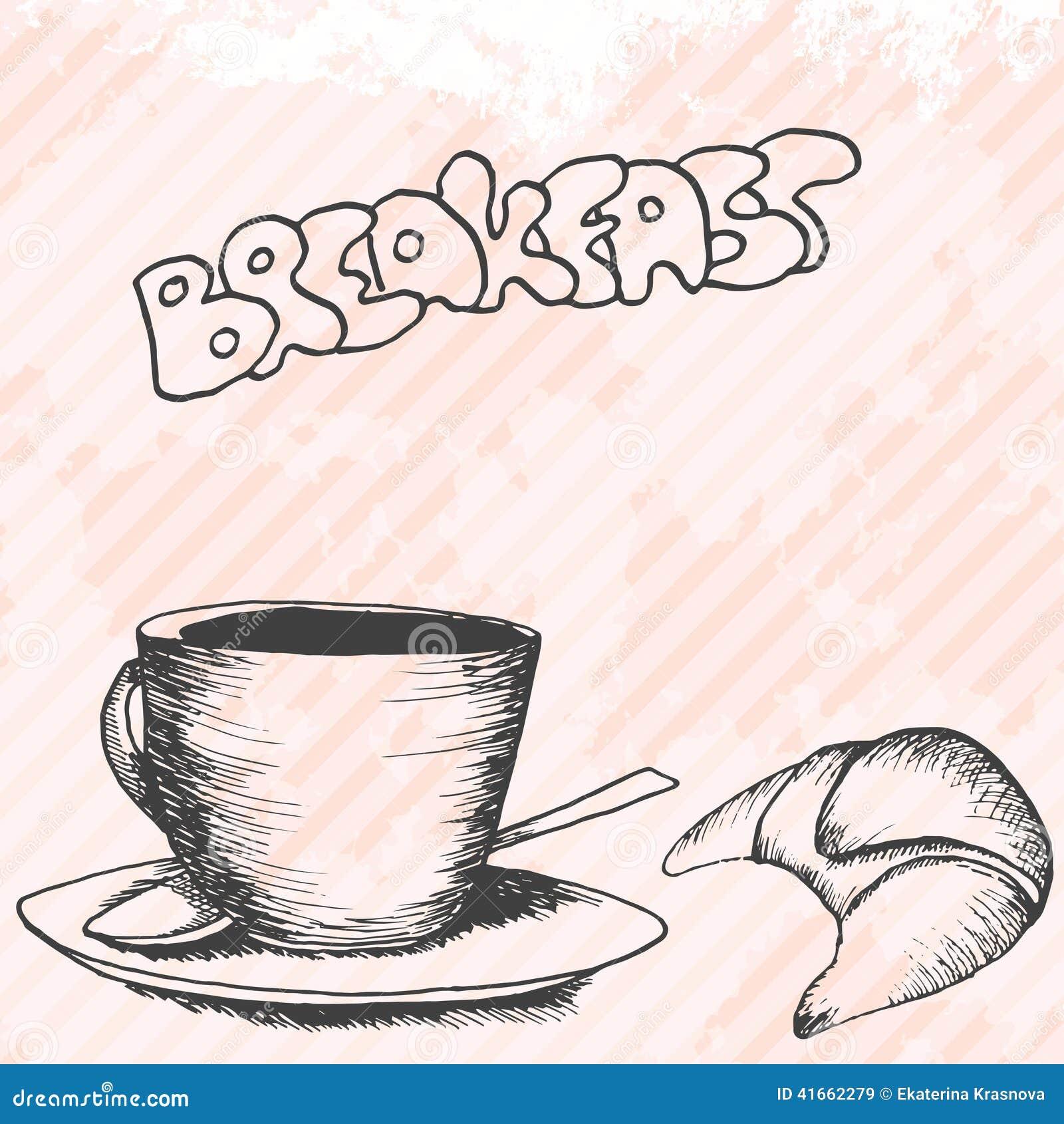 Карточка дизайна Breakfasrt ретро нарисованная рукой