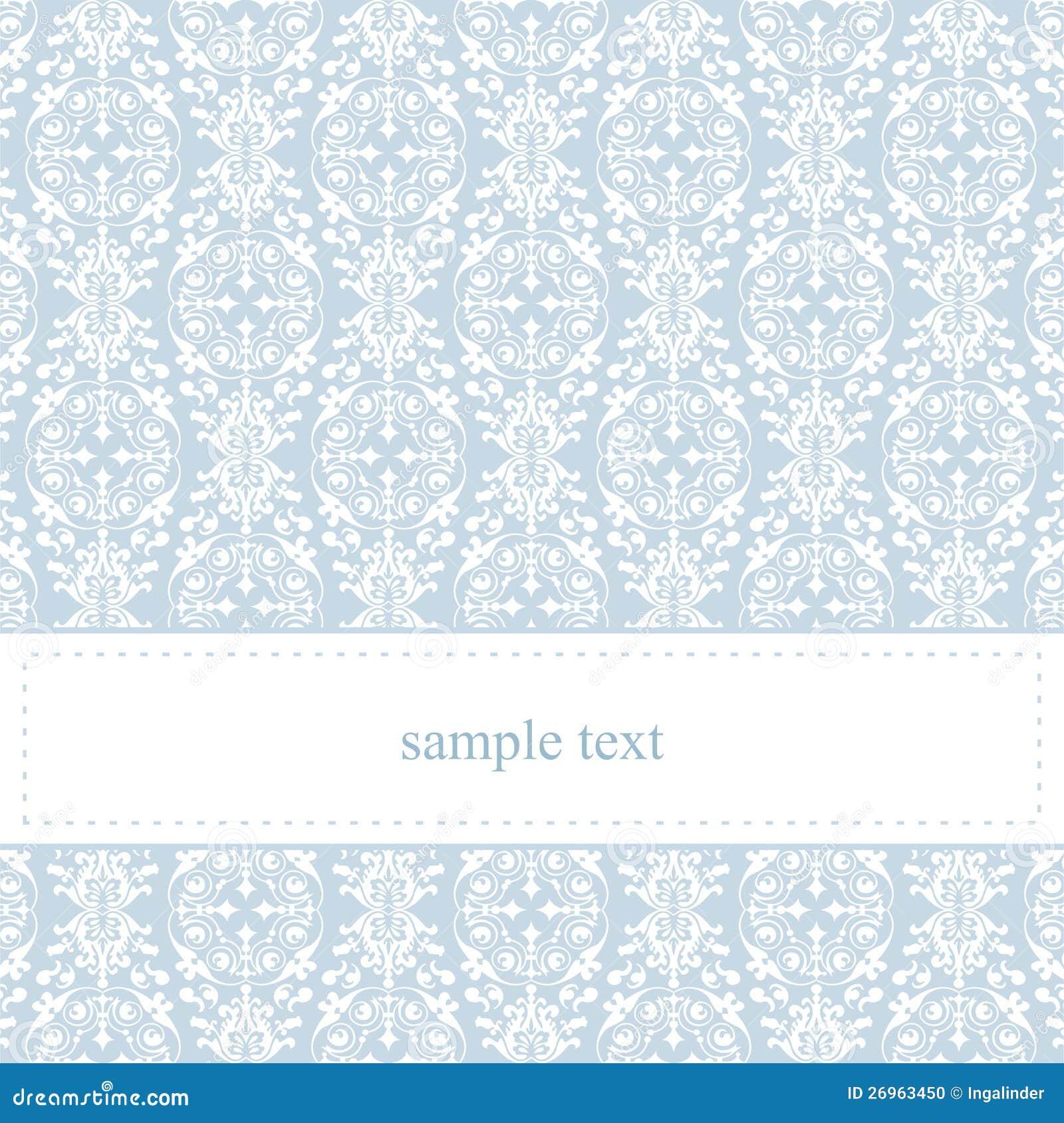 Карточка или приглашение вектора голубые с белым шнурком