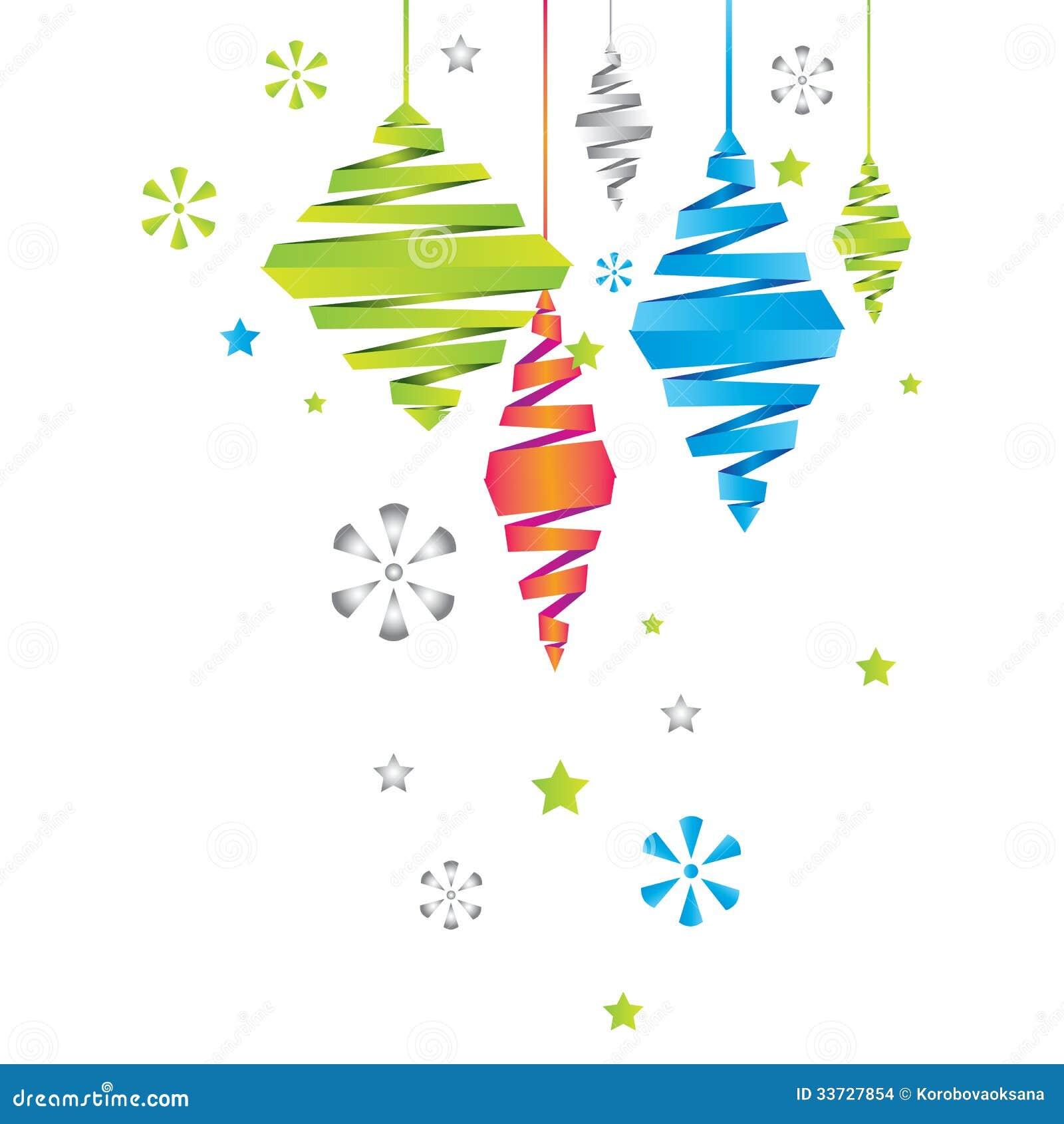 Карточка Нового Года вектора с украшениями рождества