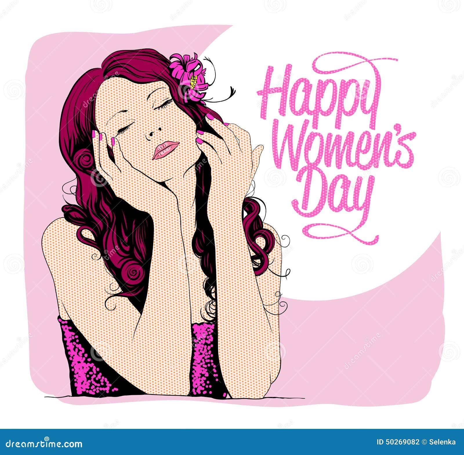 Карточка дня женщин 8-ое марта с графическим портретом женщины