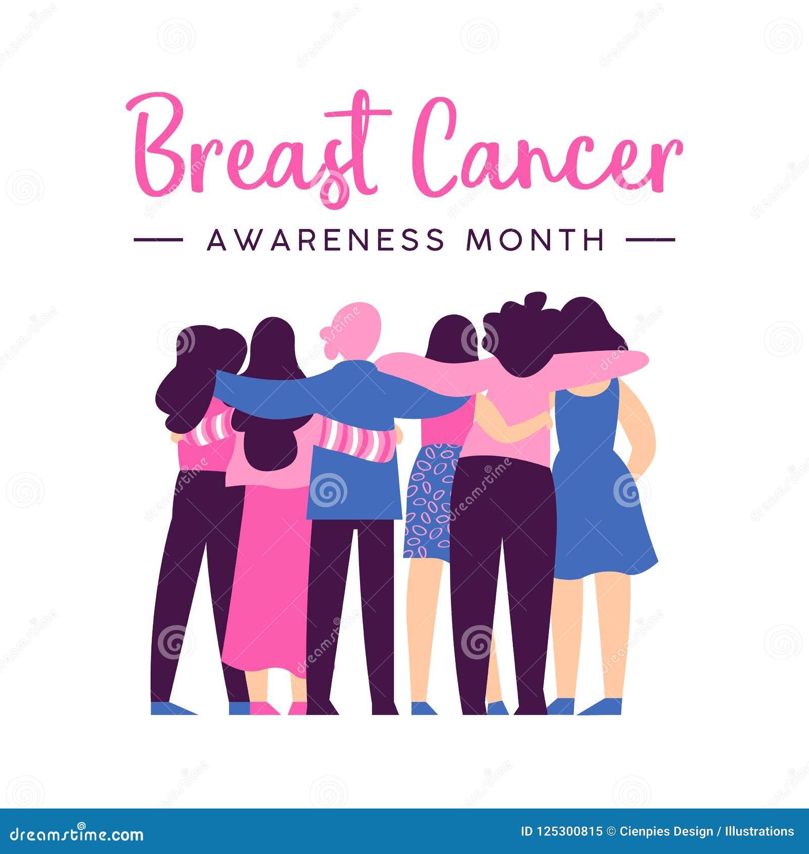 Карточка осведомленности рака молочной железы объятия друга женщин