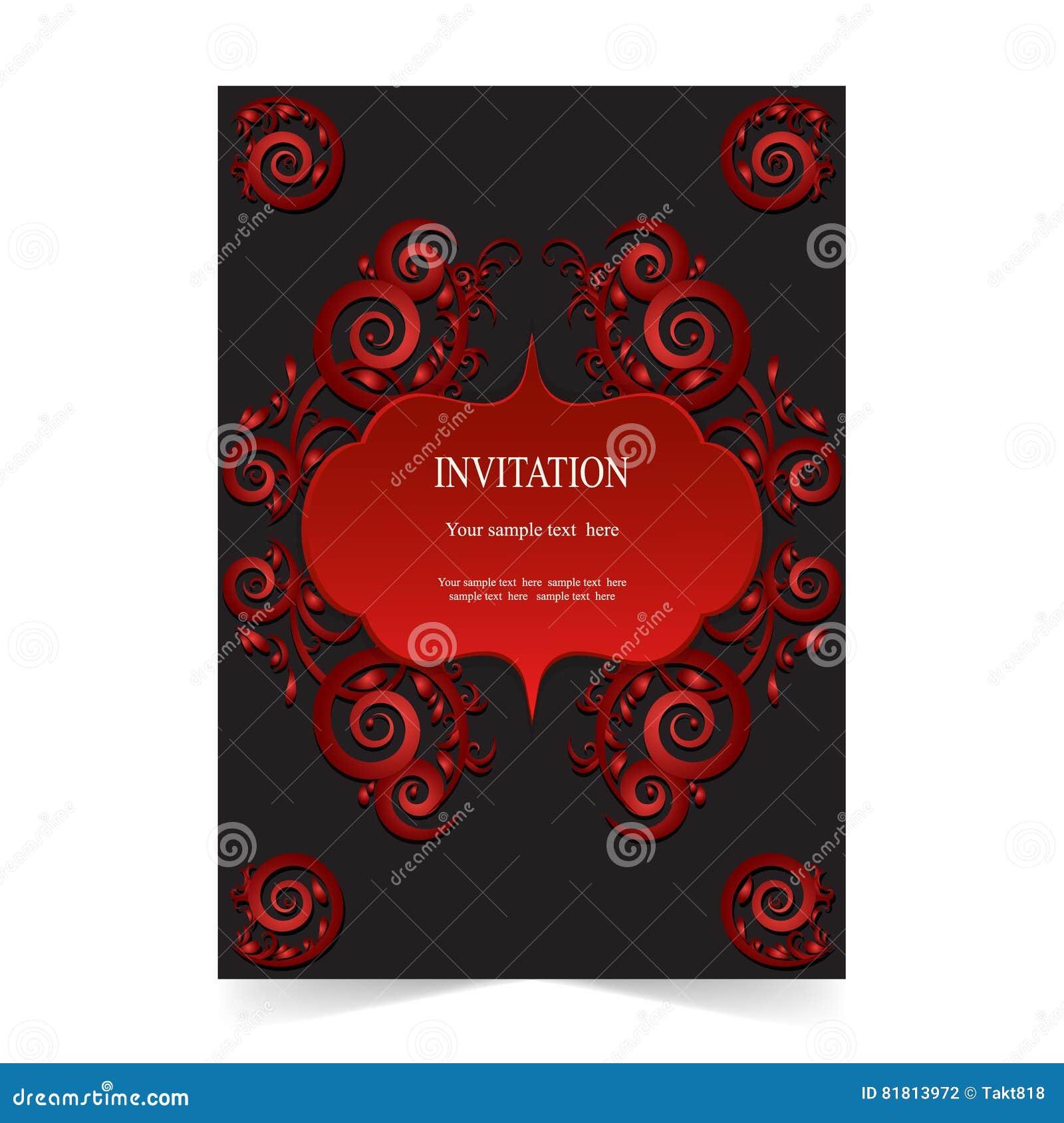 Карточка приглашения, карточка свадьбы на темной предпосылке