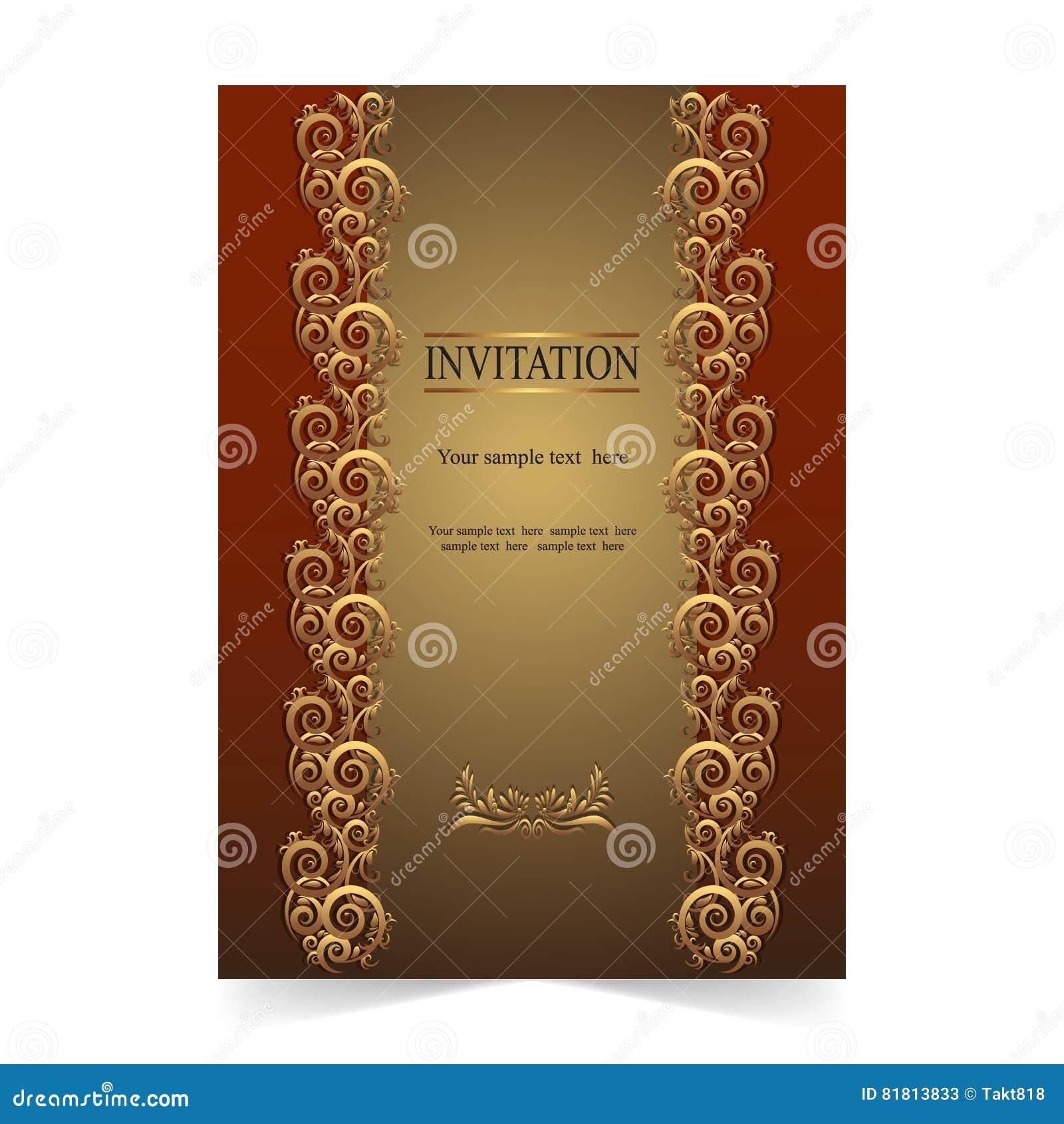 Карточка приглашения, поздравительная открытка, карточка свадьбы с ornamental