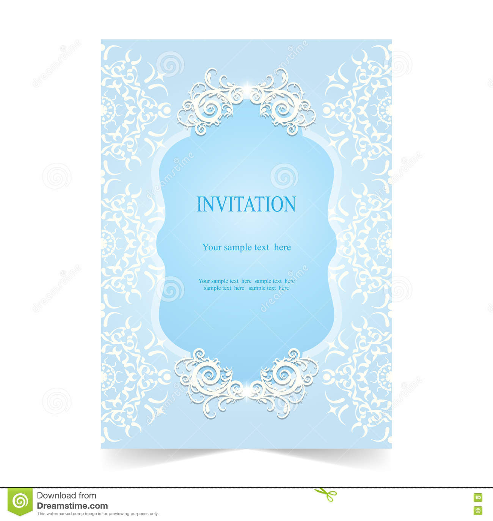 Карточка приглашения, предпосылка карточки свадьбы мягкая голубая