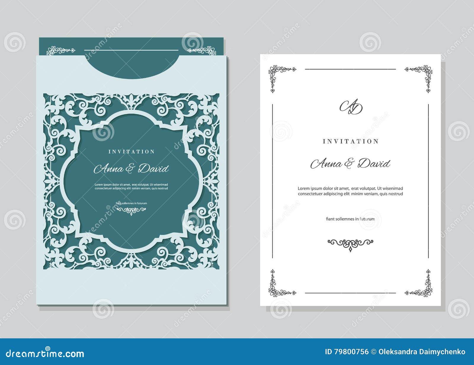Карточка приглашения свадьбы и шаблон конверта при лазер режа филигранную рамку