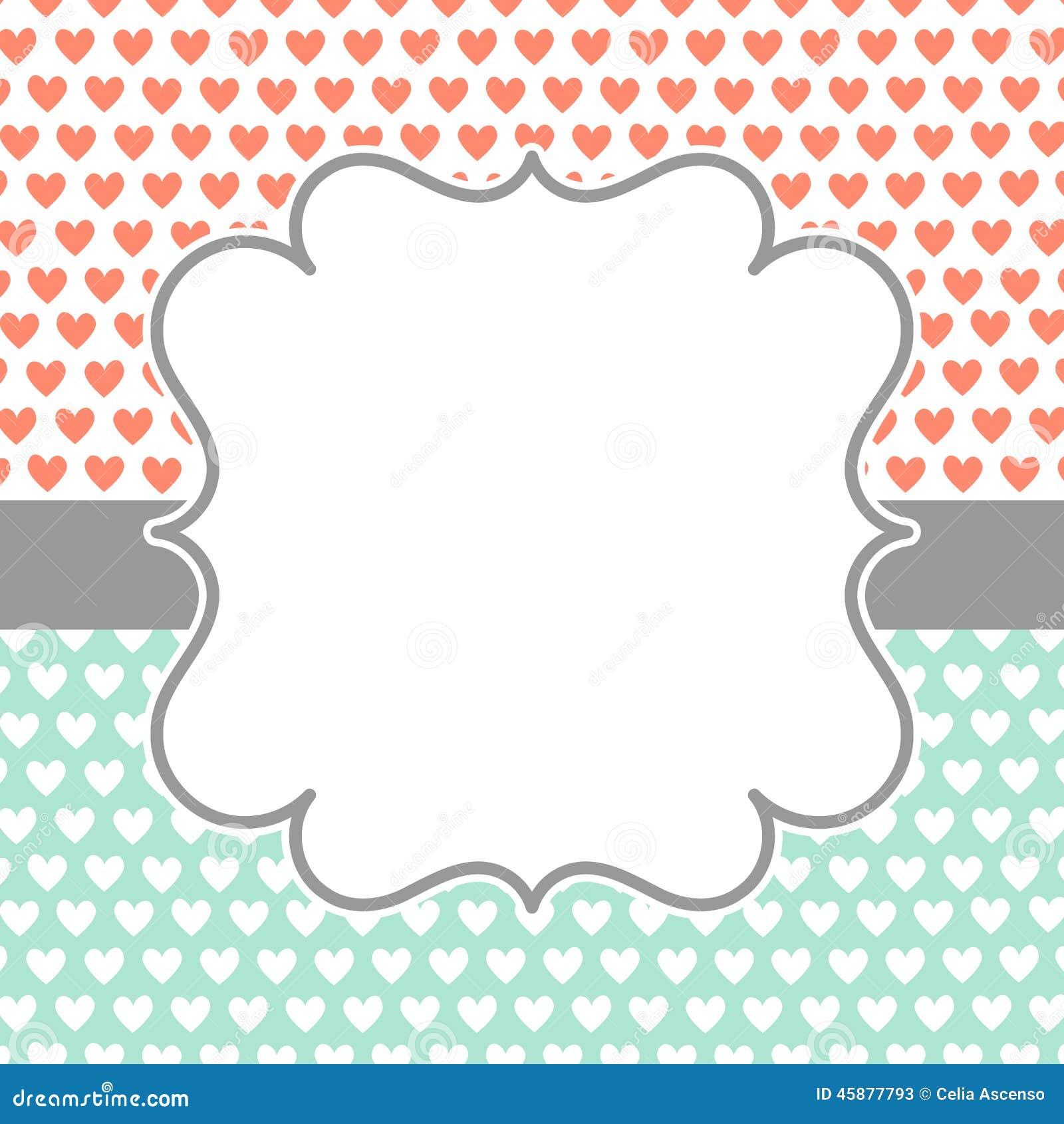 Карточка приглашения с сердцами и рамкой польки