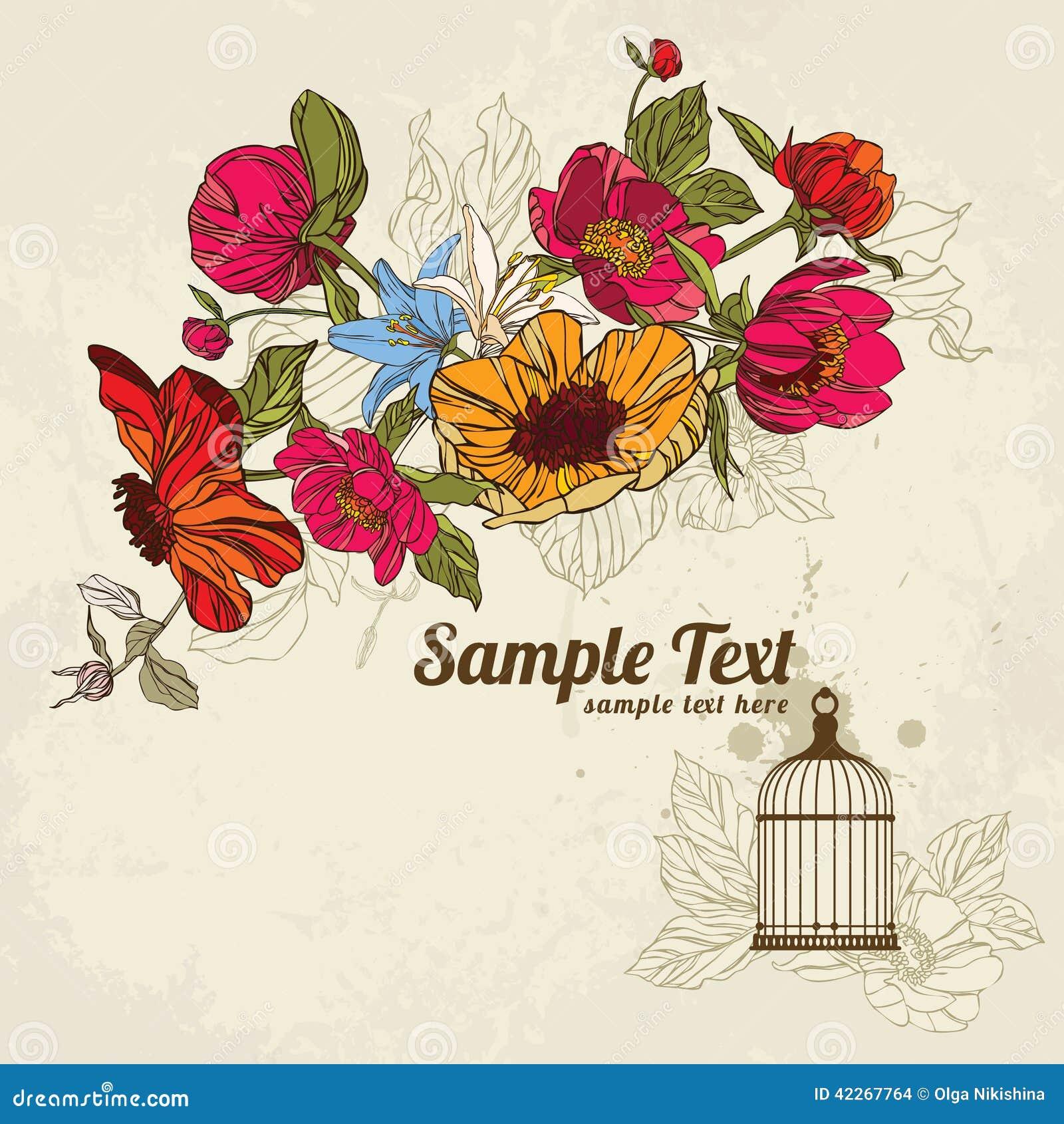 Карточка приглашения с цветками и birdcage 02