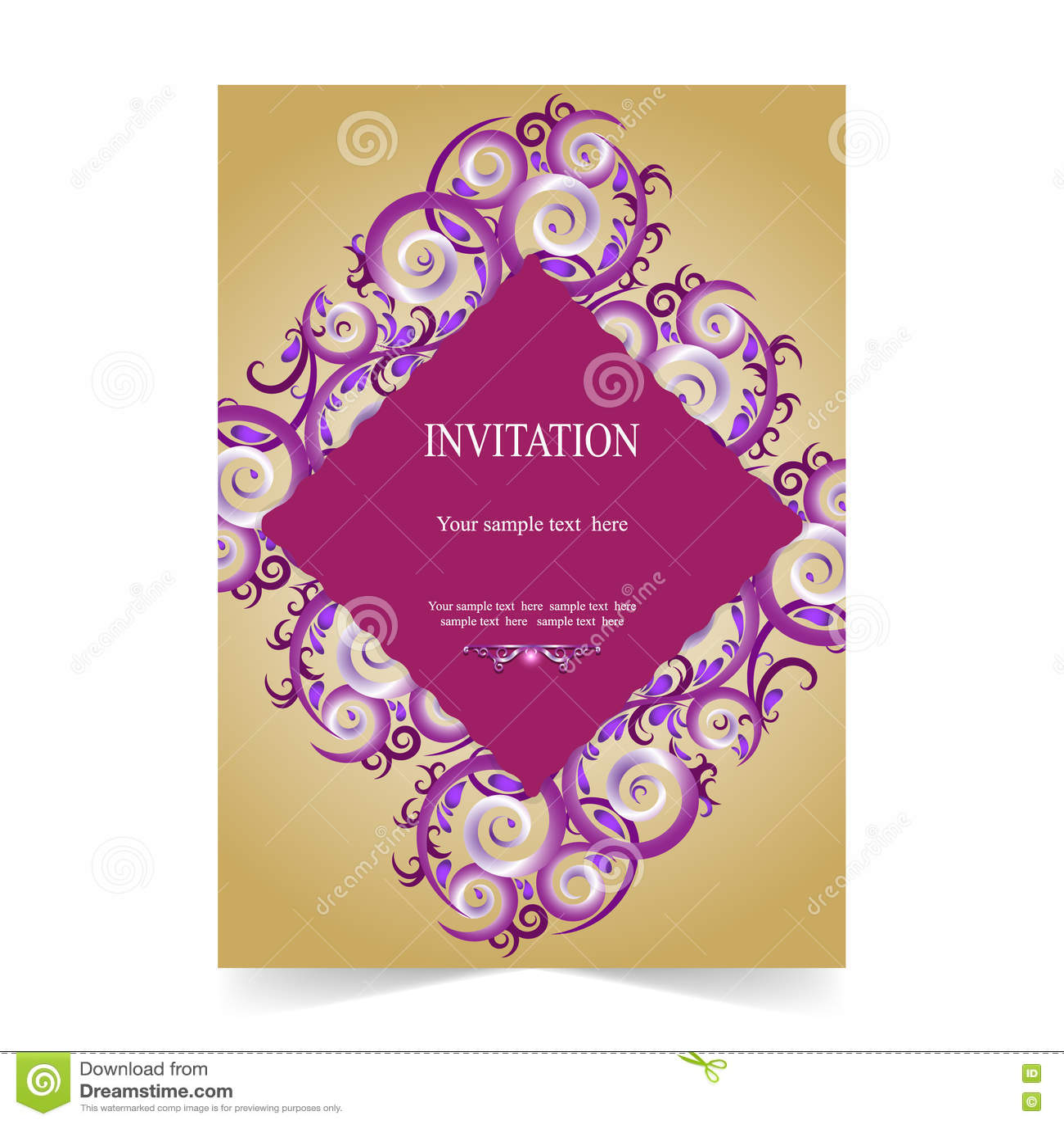 Карточка приглашения, ornamental карточки свадьбы на предпосылке золота