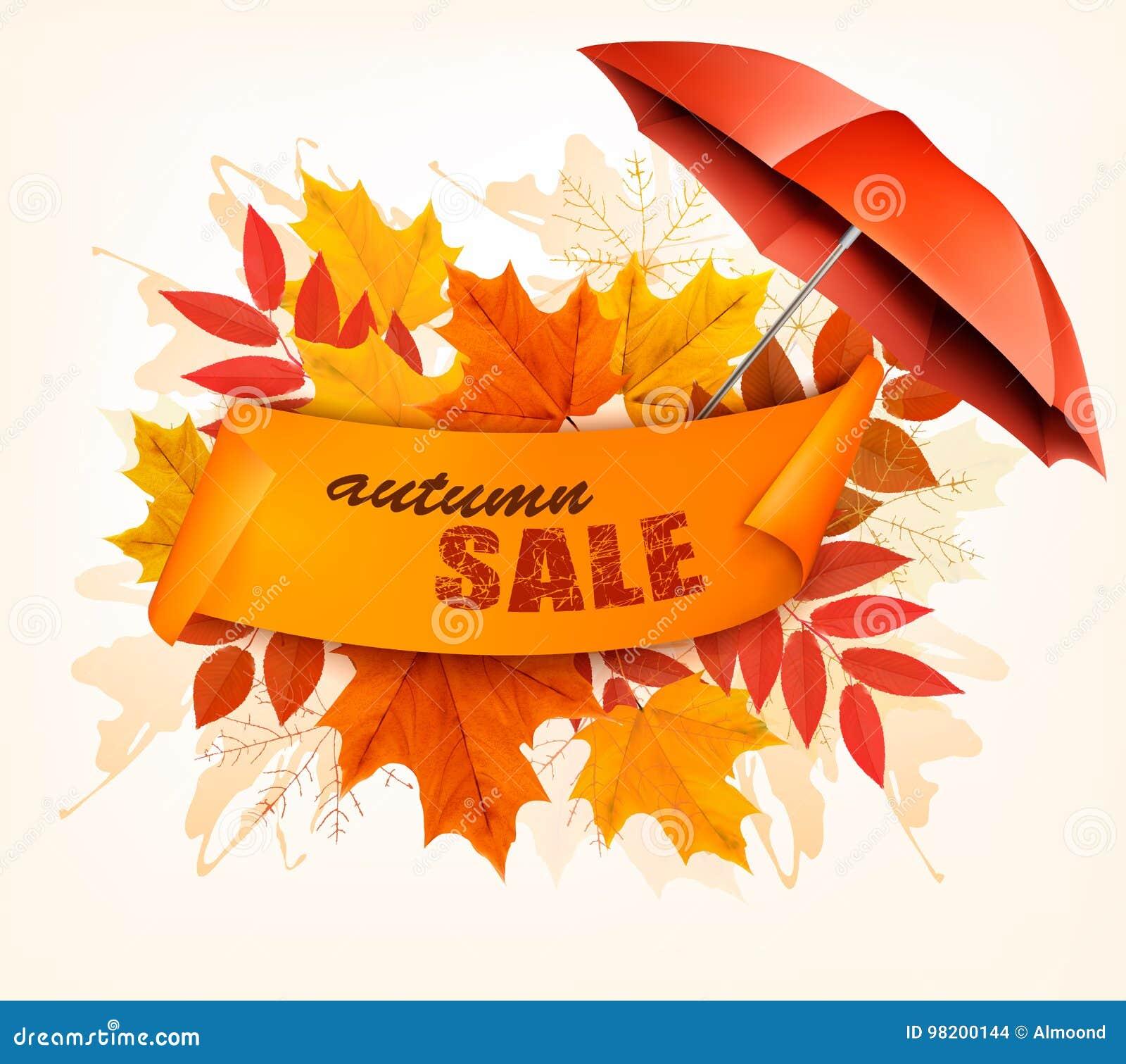 Download Карточка продажи осени с красочными листьями и зонтиком Иллюстрация вектора - иллюстрации насчитывающей листво, бульвара: 98200144