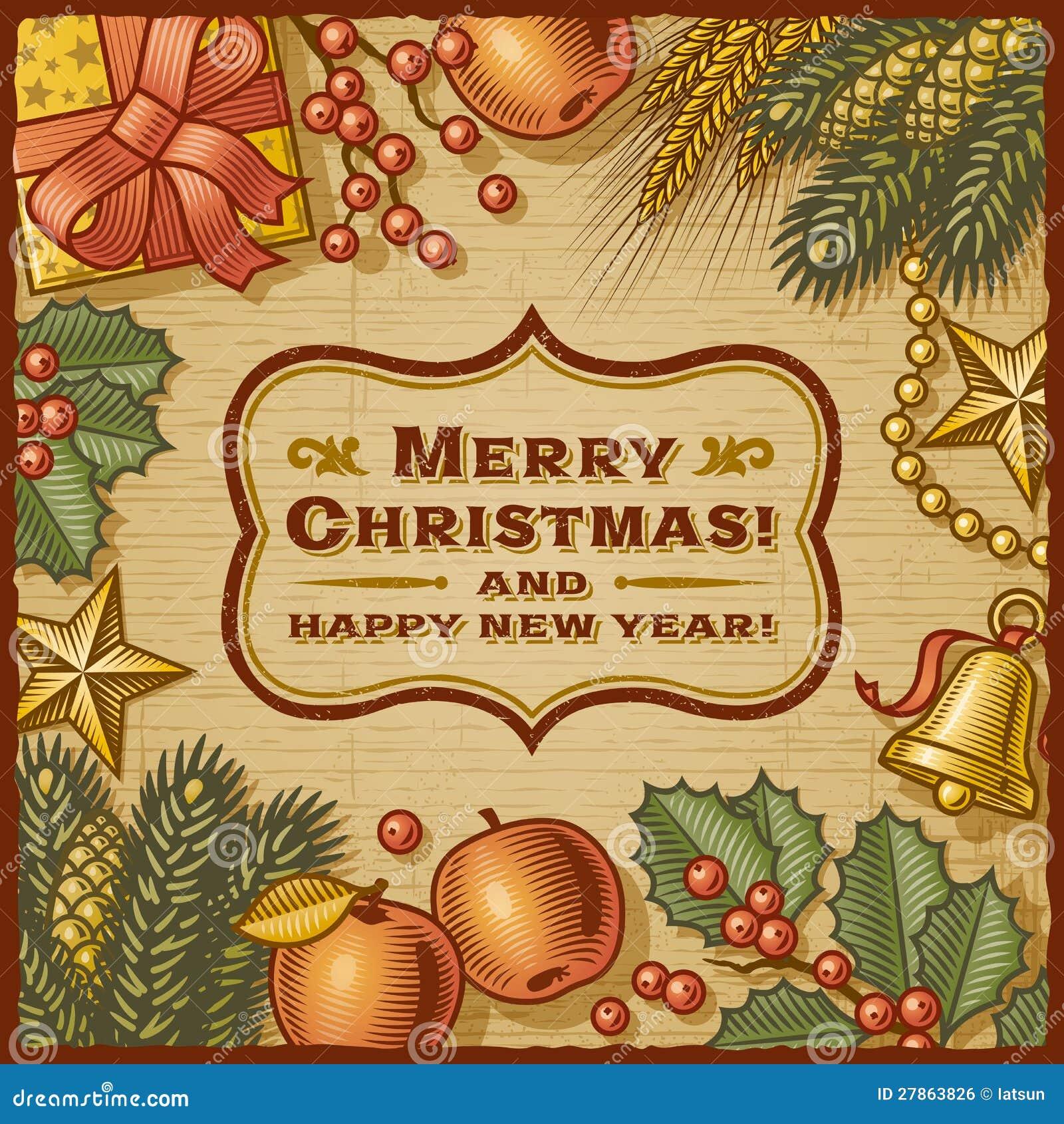 Карточка рождества ретро