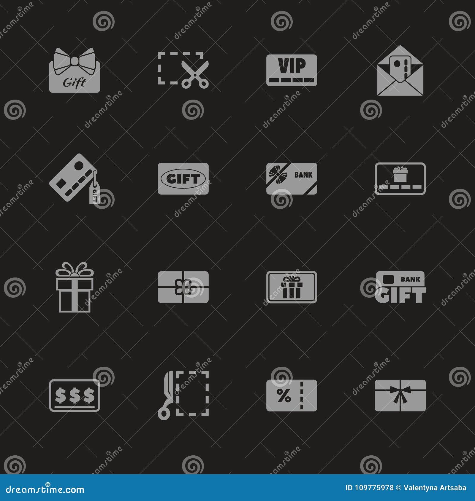 Карточки подарка - плоские значки вектора