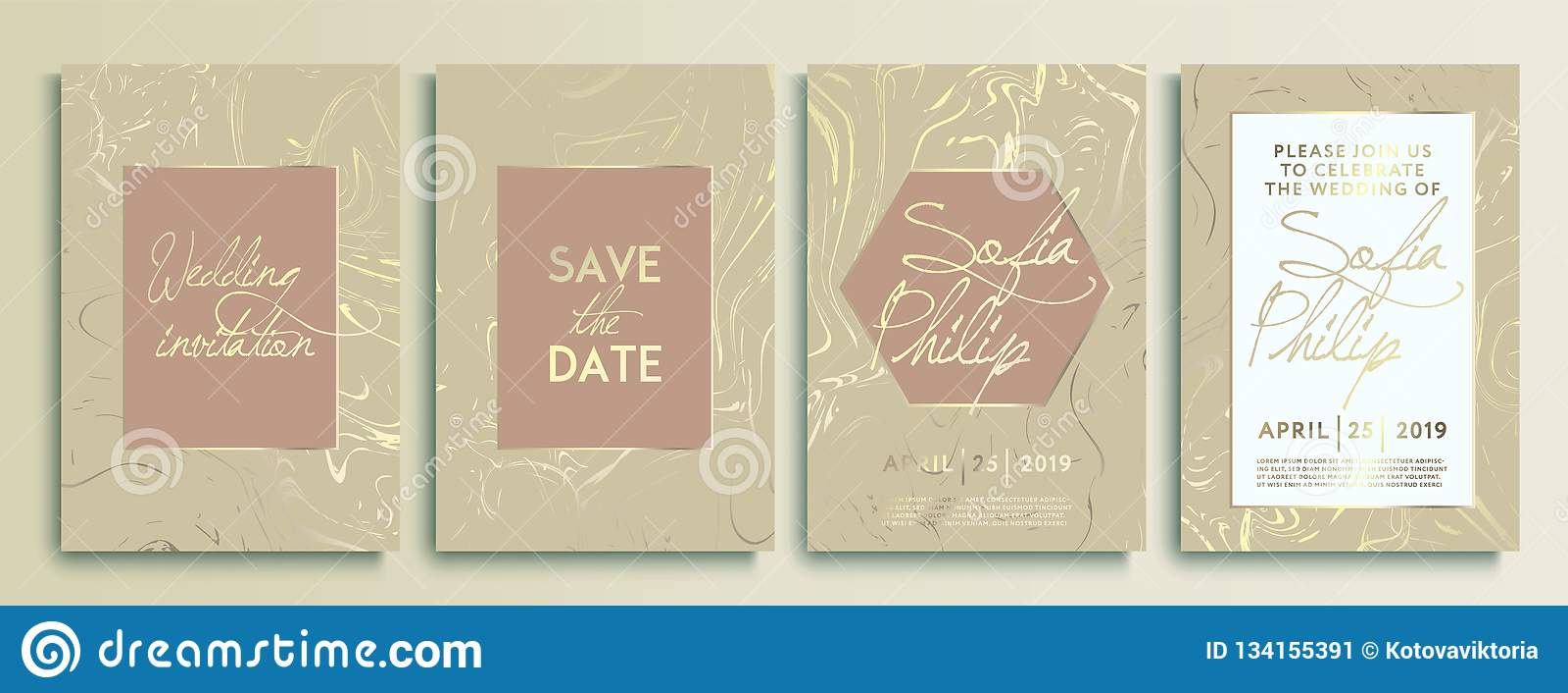 Карточки приглашения свадьбы с мраморной предпосылкой текстуры и линией золота геометрической конструируют вектор Комплект рамки