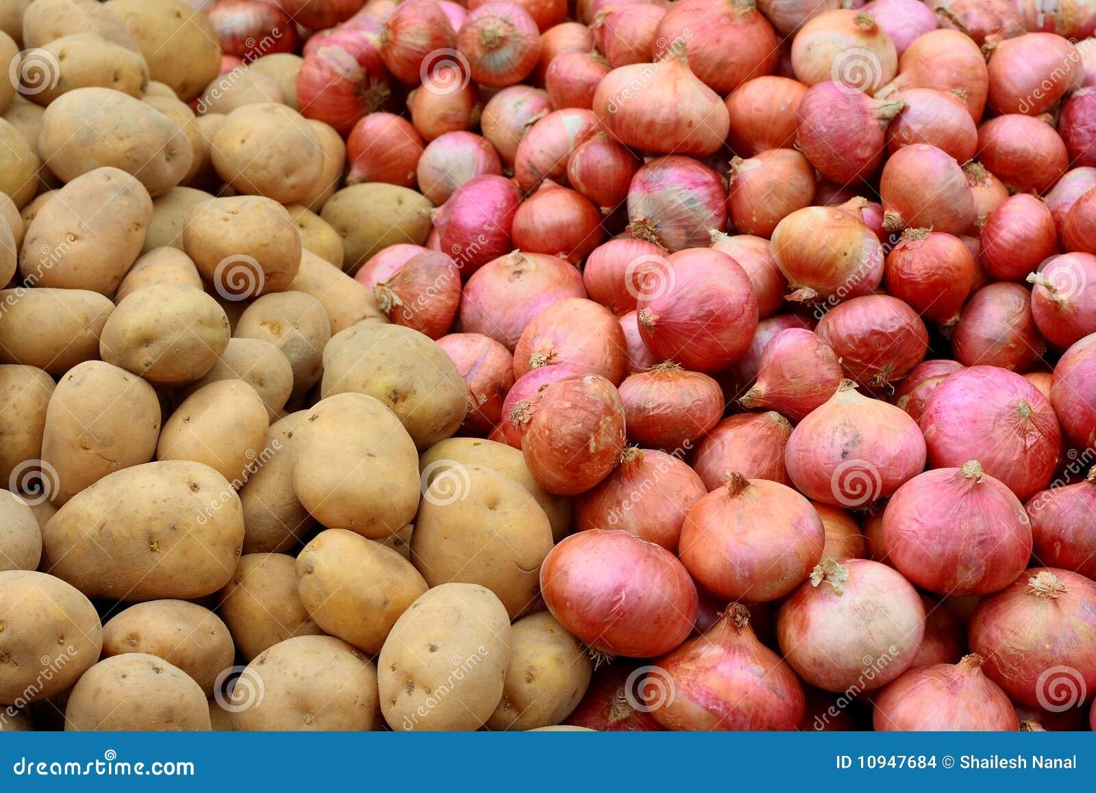 картошки луков красные