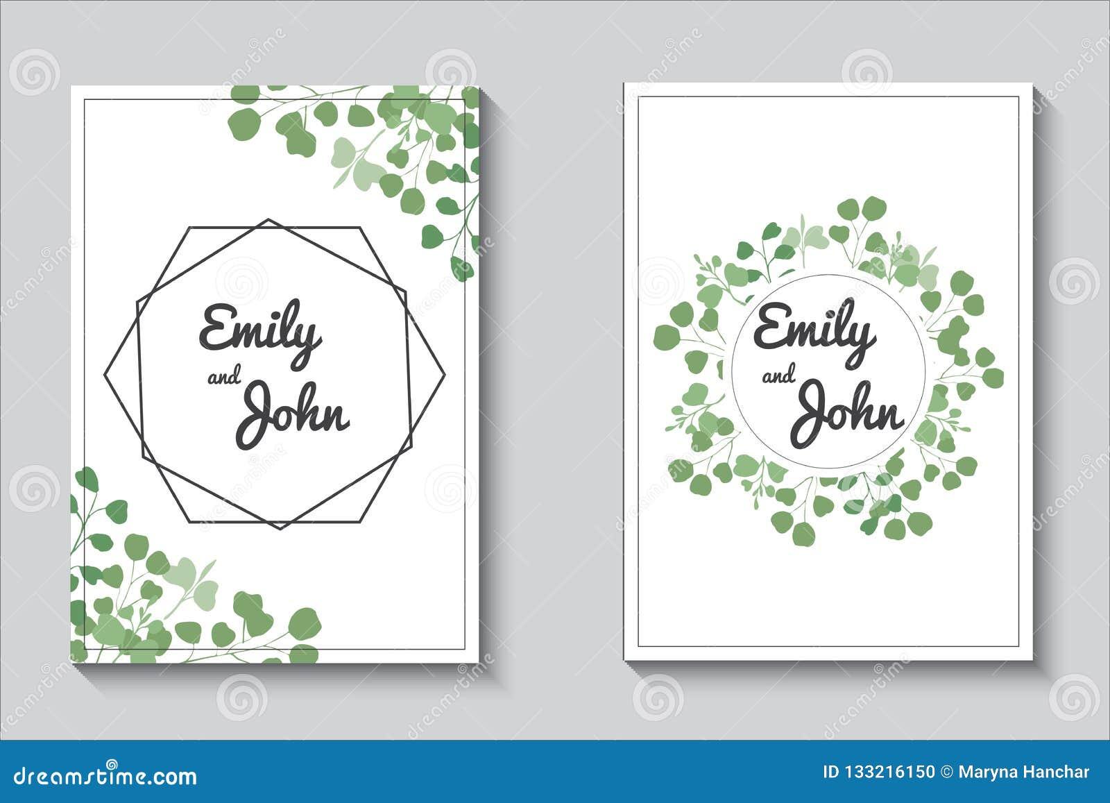 Карты растительности, набор приглашения свадьбы eucalypthus