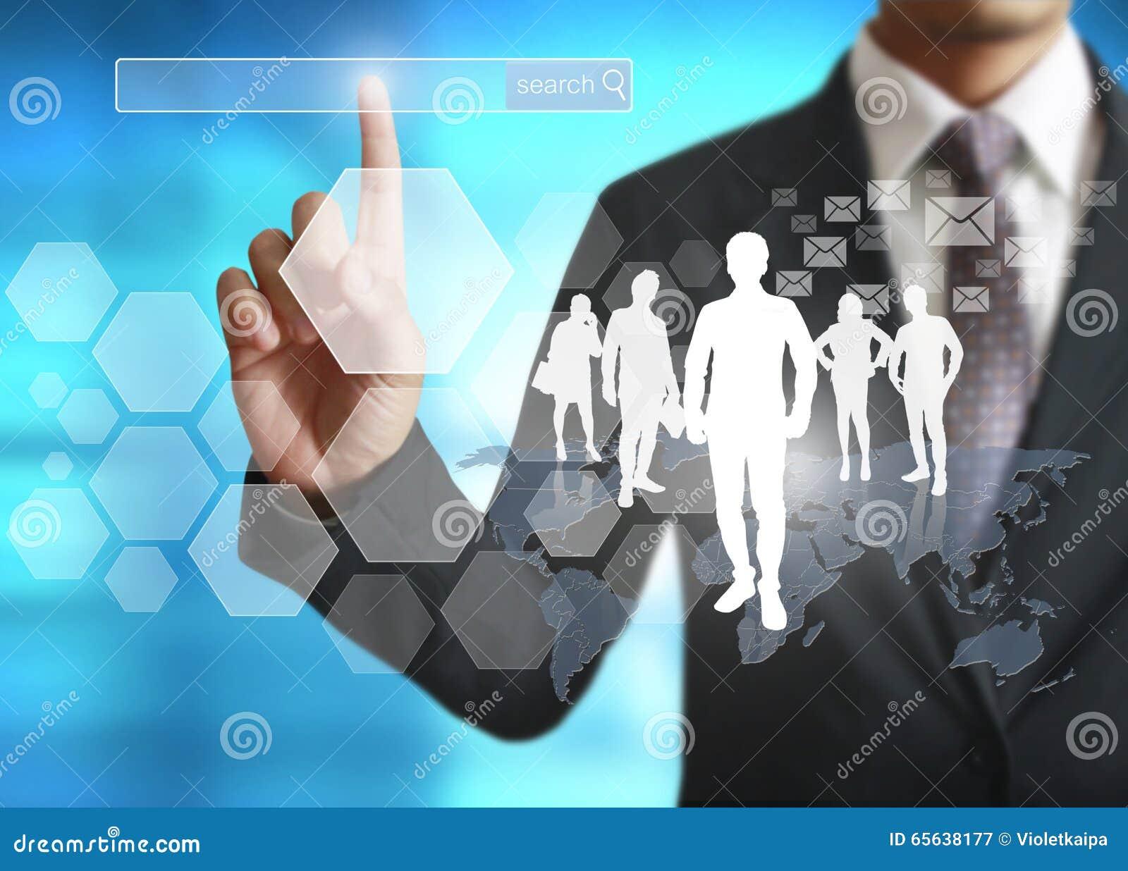 Касающий виртуальный значок социальной сети