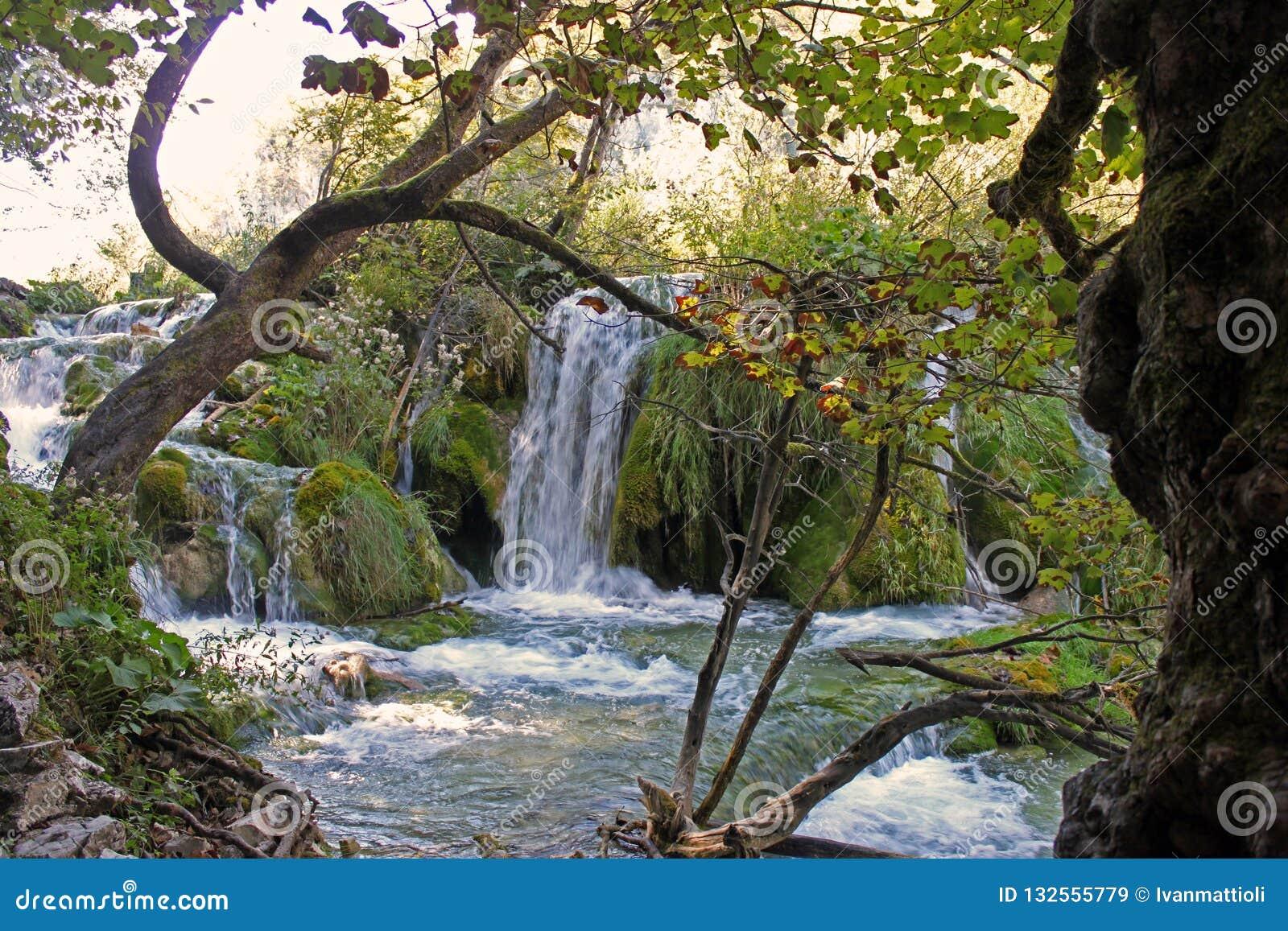Каскад в национальном парке Хорватии Plitvice