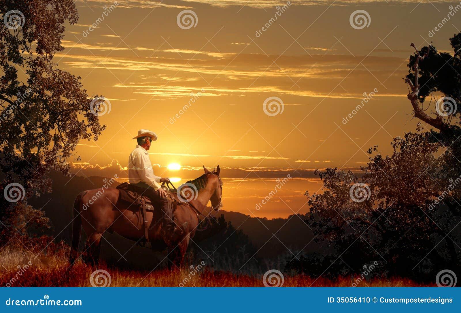 Катание ковбоя на его лошади VII.