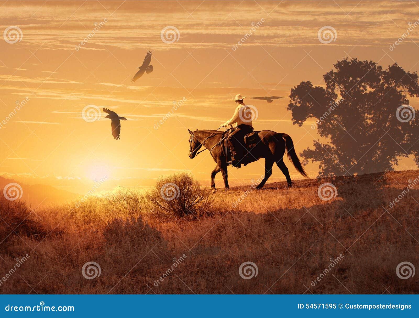Катание ковбоя на лошади